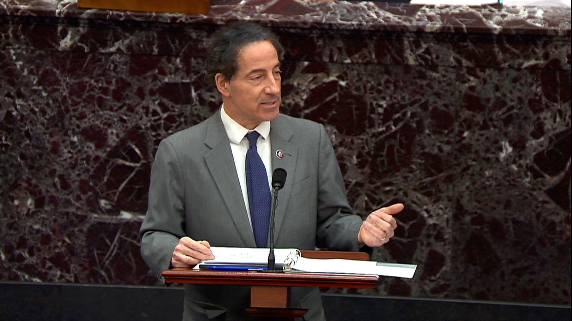 Rep. Jamie Raskin speaks on the Senate floor on the second day of impeachment trial proceedings at the Capitol on Wednesday, February 10.