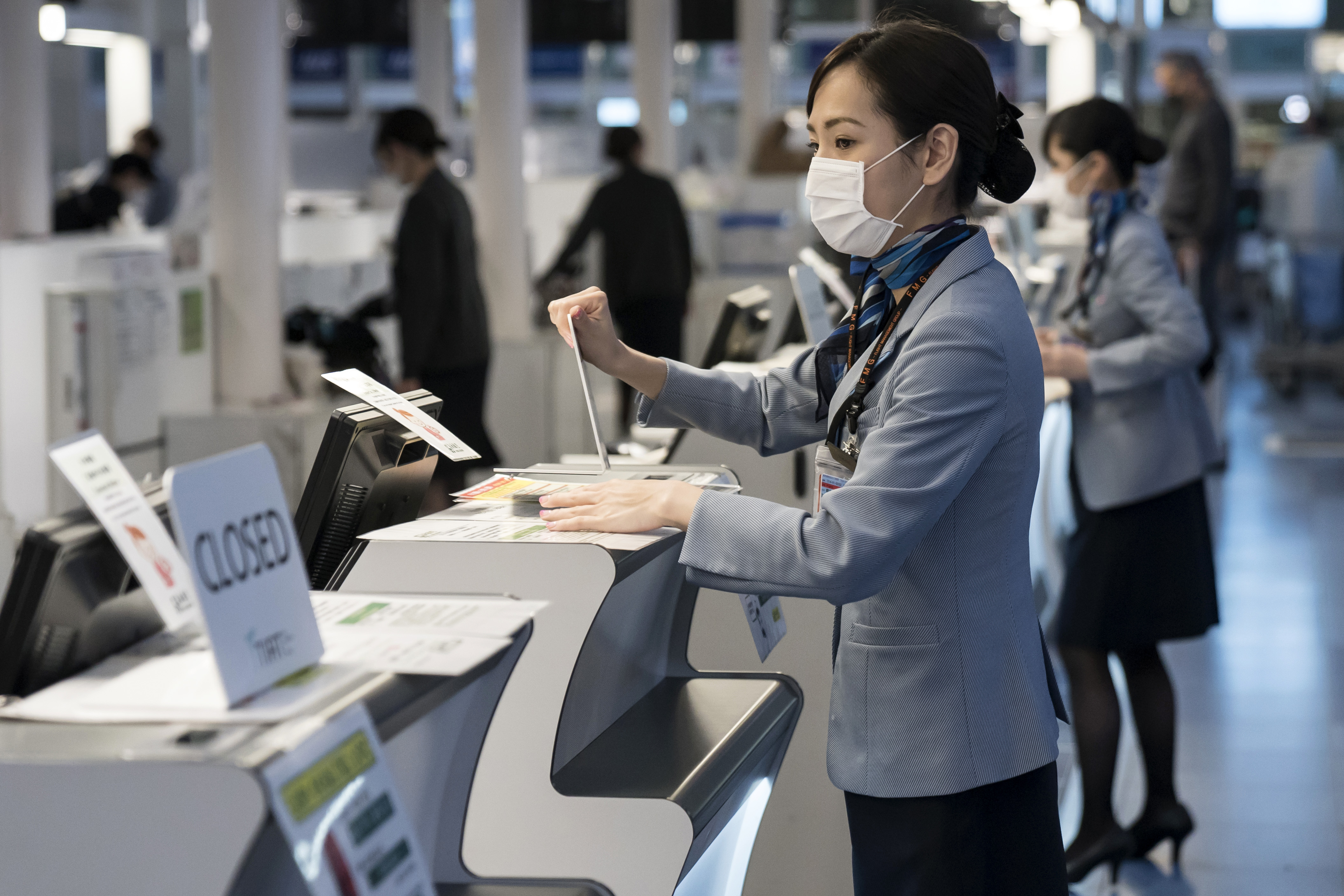 Airline staff at Haneda Airport on January 31, 2020 in Tokyo, Japan.