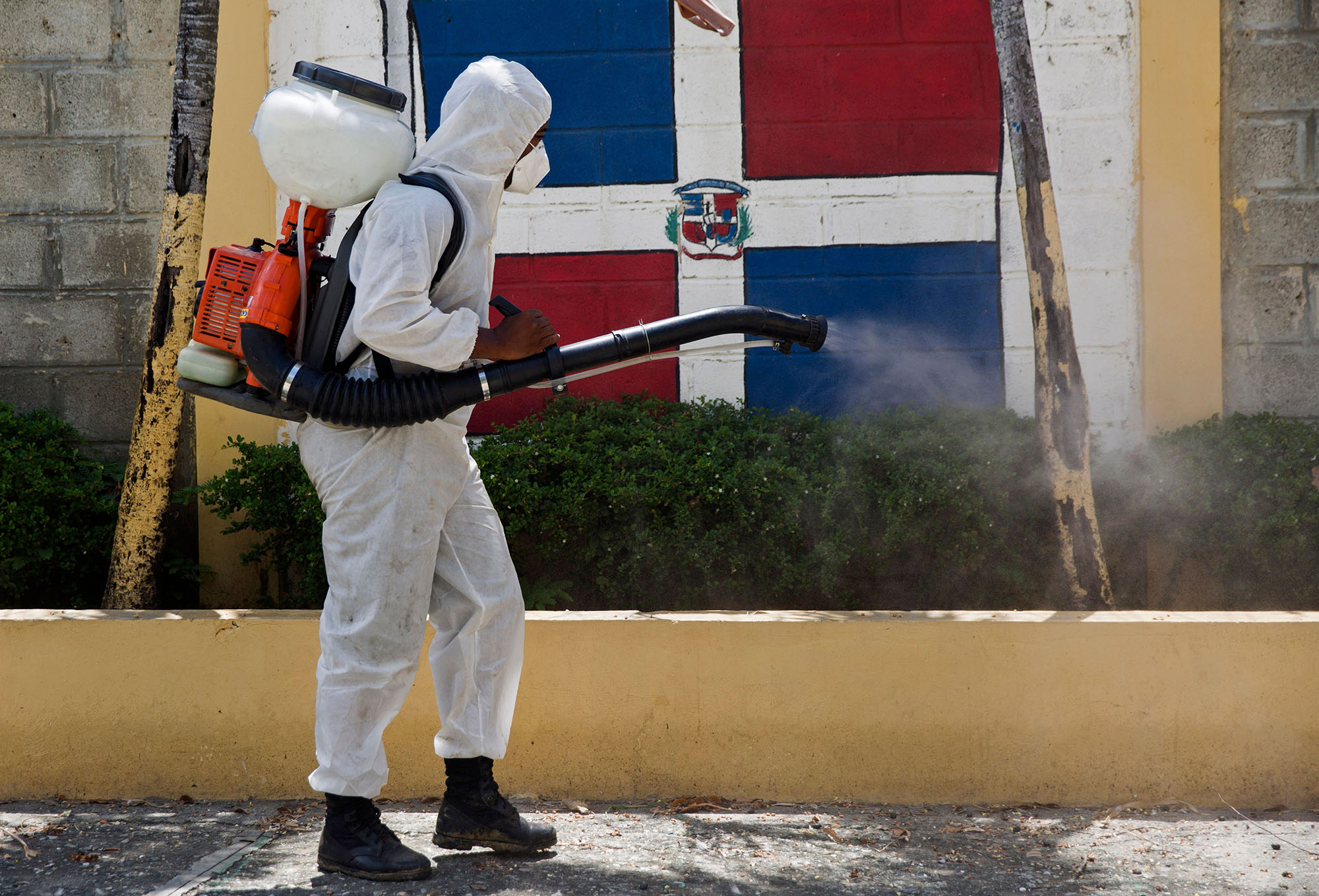National Health Service personnel fumigates during an operation to curb the spread of COVID-19 in San Cristobal, Domincan Republic, on June 13, 2020.