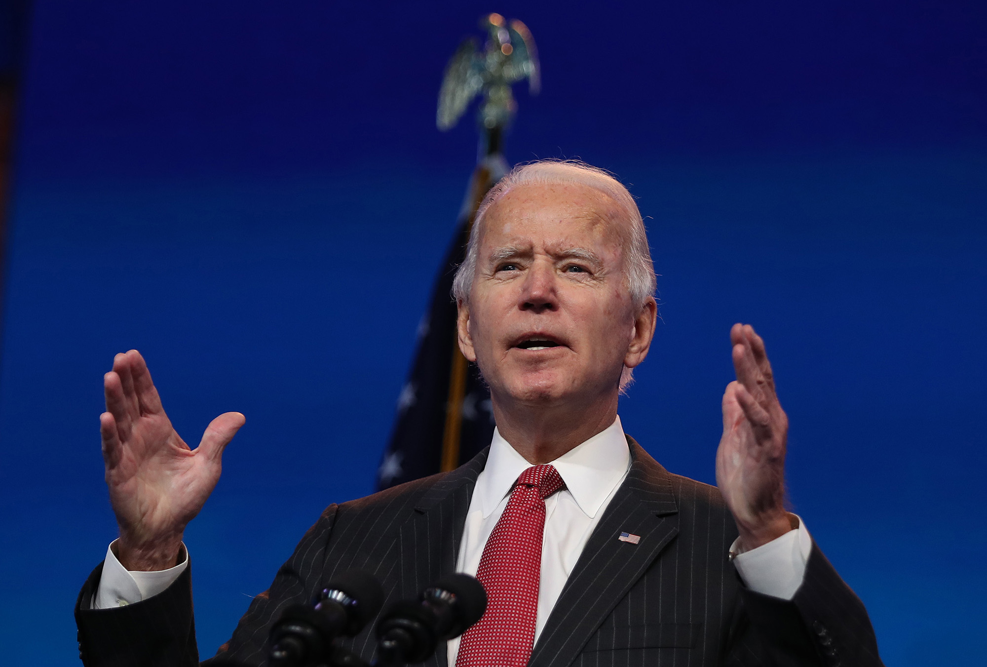 U.S. President-elect Joe Biden addresses the media at the Queen Theater on November 19, in Wilmington, Delaware.