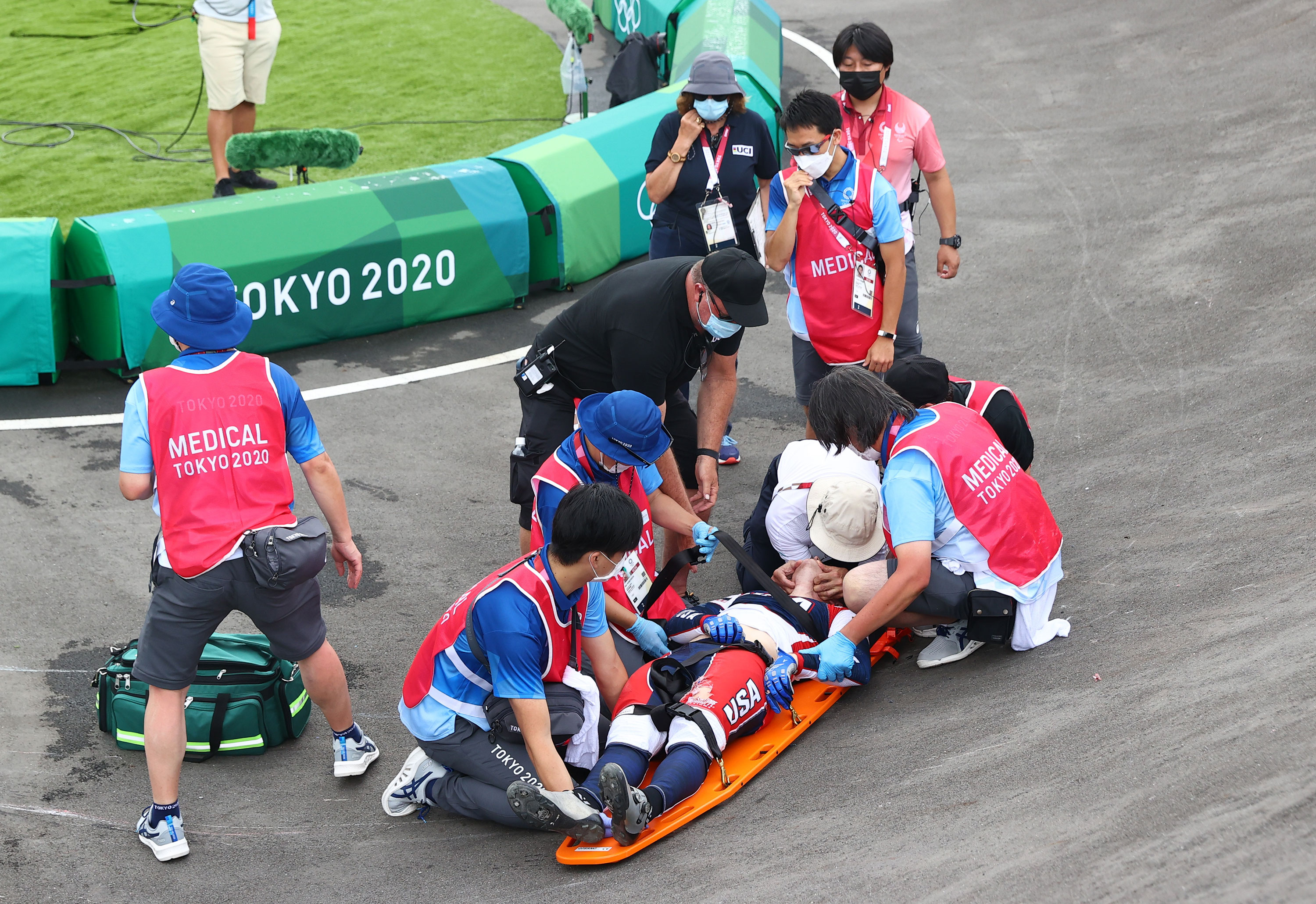 Connor Fields of the United States receives medical attention during the BMX individual semifinal on July 30.