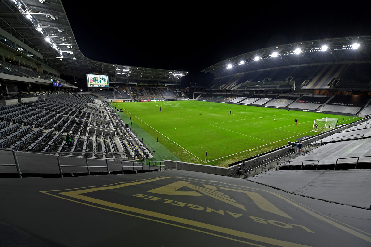 General view of the Banc of California Stadium before the game between the Los Angeles Football Club and the Houston Dynamo on October 28 in Los Angeles, California.