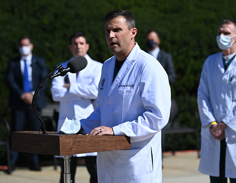 Pulmonologist Sean Dooley gives an update on the condition of US President Donald Trump, on October 3, 2020, at Walter Reed Medical Center in Bethesda, Maryland.