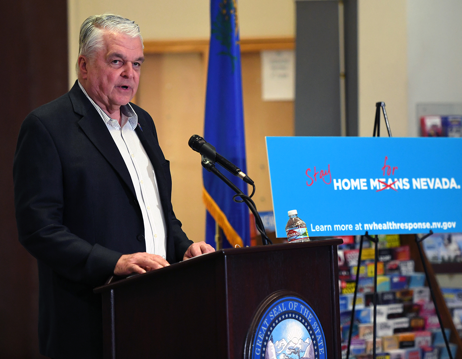 Nevada Gov. Steve Sisolak speaks during a news conference on the state's response to the coronavirus outbreak at the Grant Sawyer State Office Building in Las Vegas, on March 17.