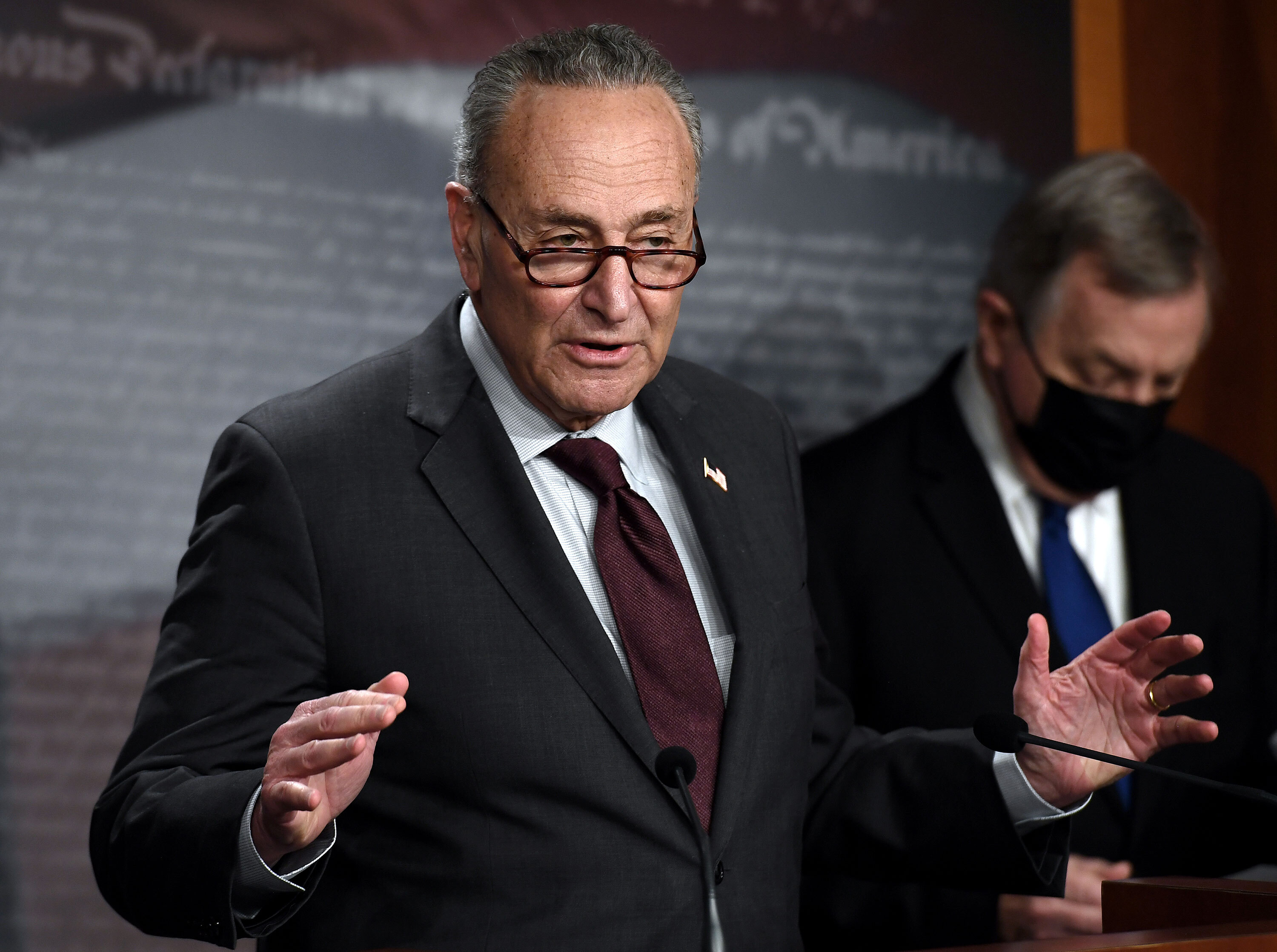 Senate Majority Leader Chuck Schumer speaks during a press conference at the US Capitol on February 2 in Washington, DC.