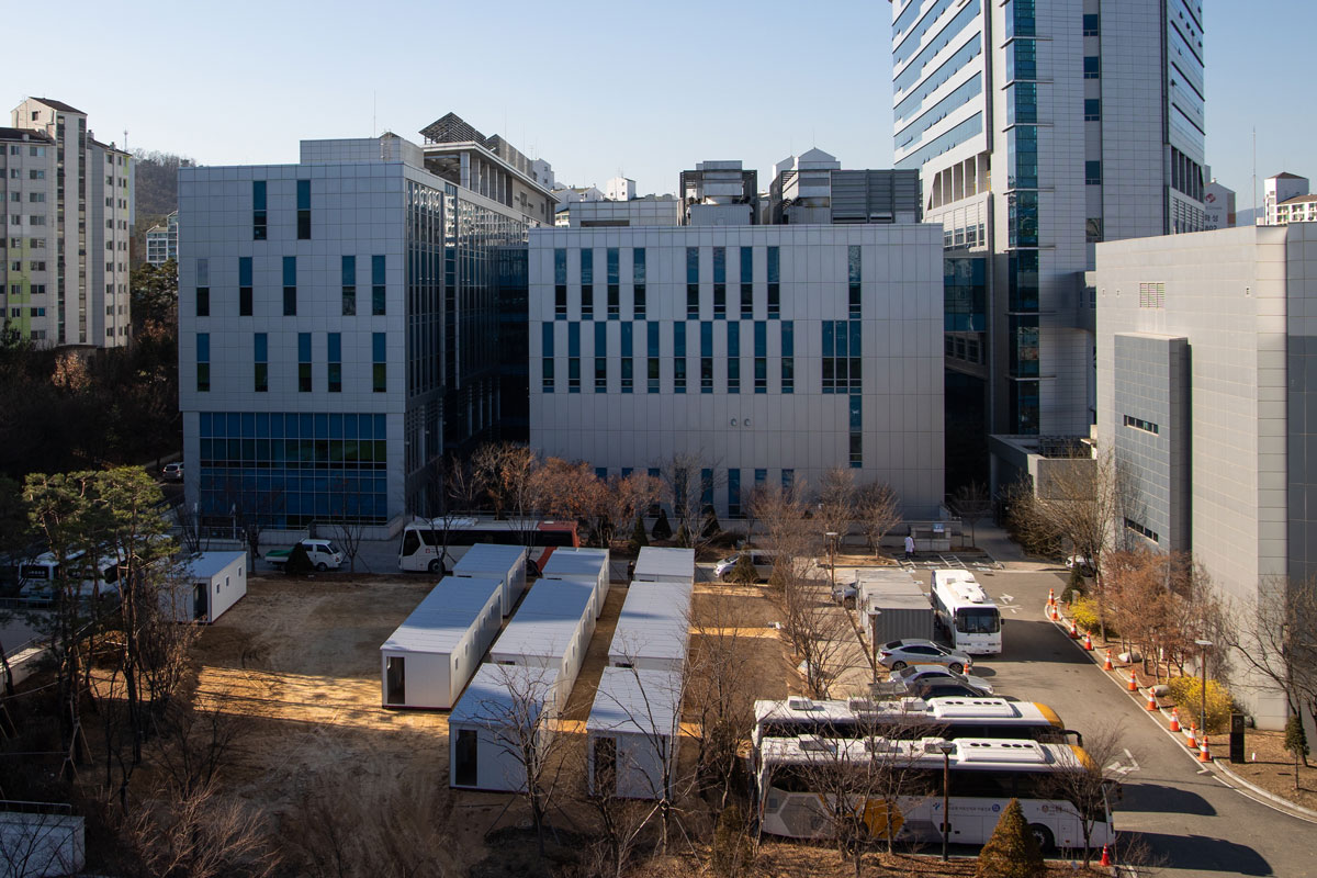 A makeshift medical facility using containers is installed on the grounds of the Seoul Medical Center in Seoul, South Korea, on December 8.
