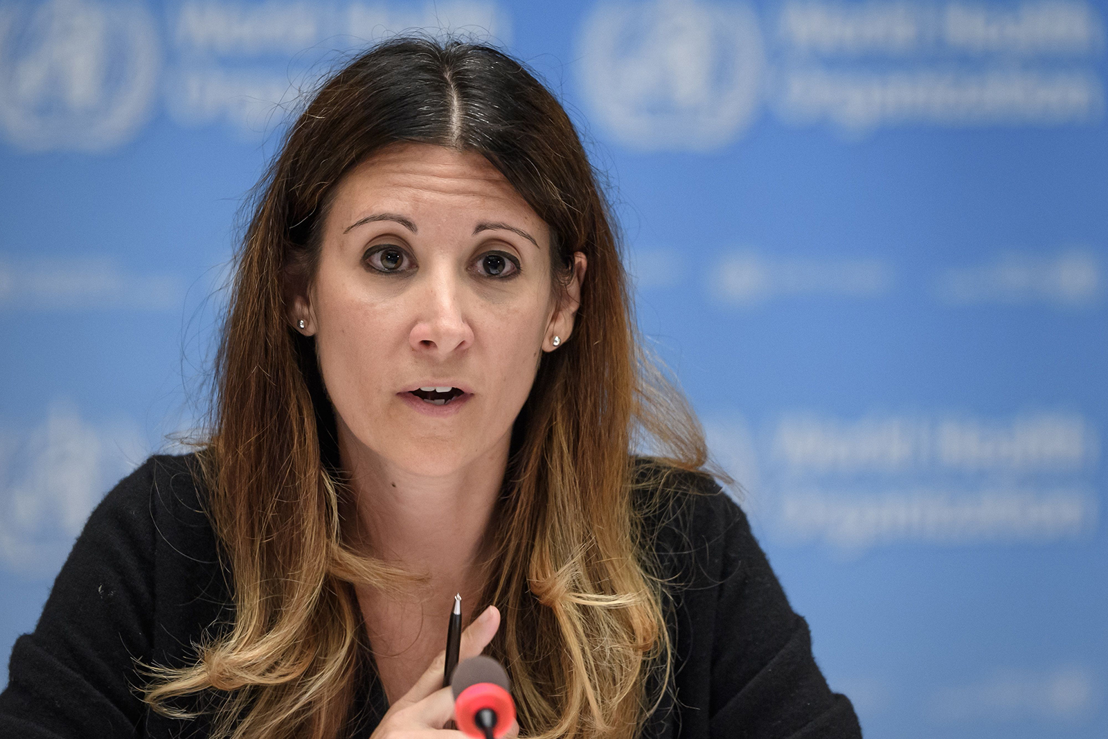 Technical lead head Dr. Maria Van Kerkhove attends a newsconference organized by Geneva Association of United Nations Correspondents amid the coronavirus outbreak on July 3 at the WHO headquarters in Geneva.