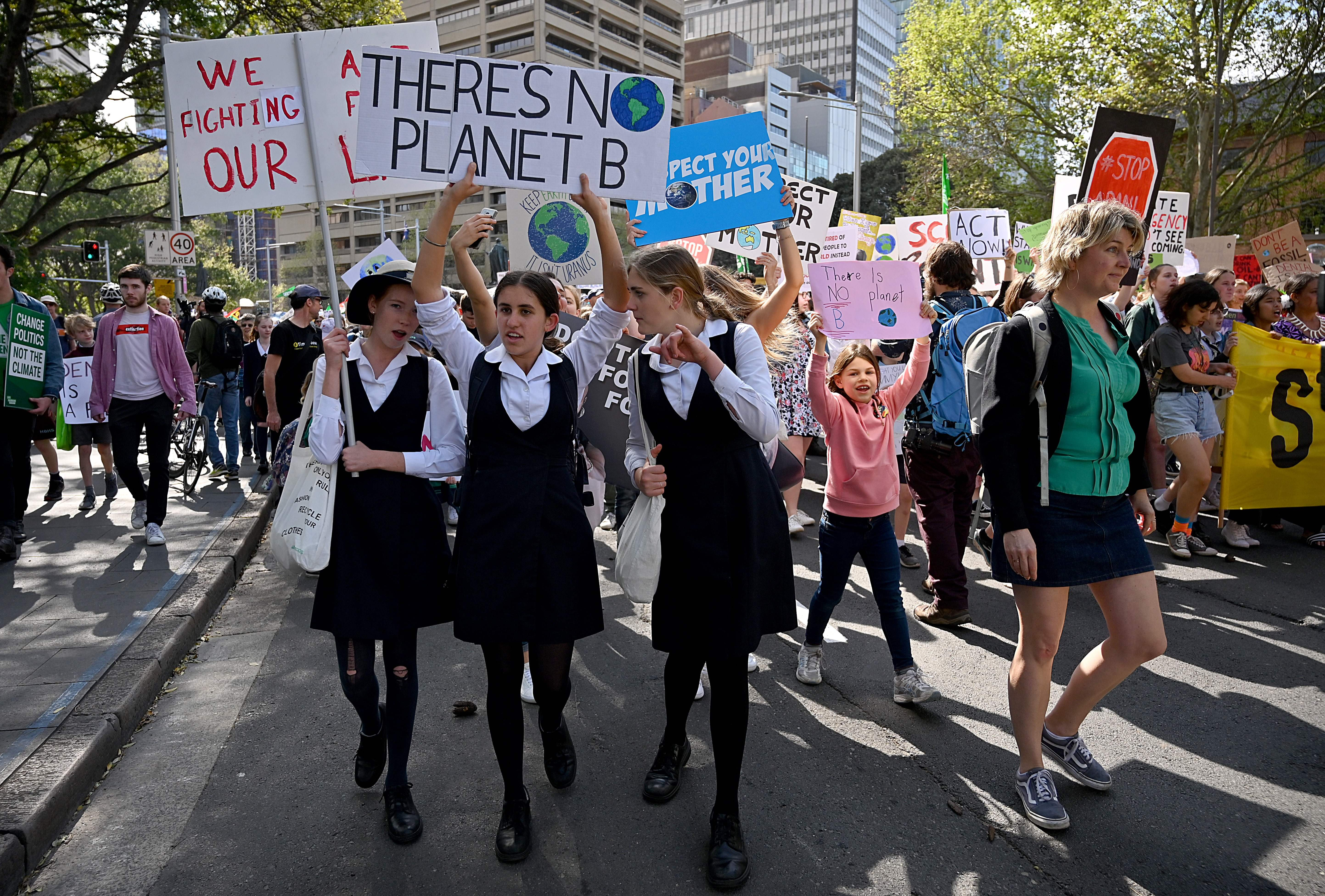 Students attend a protest march as part of the world's largest climate strike in Sydney on September 20, 2019.