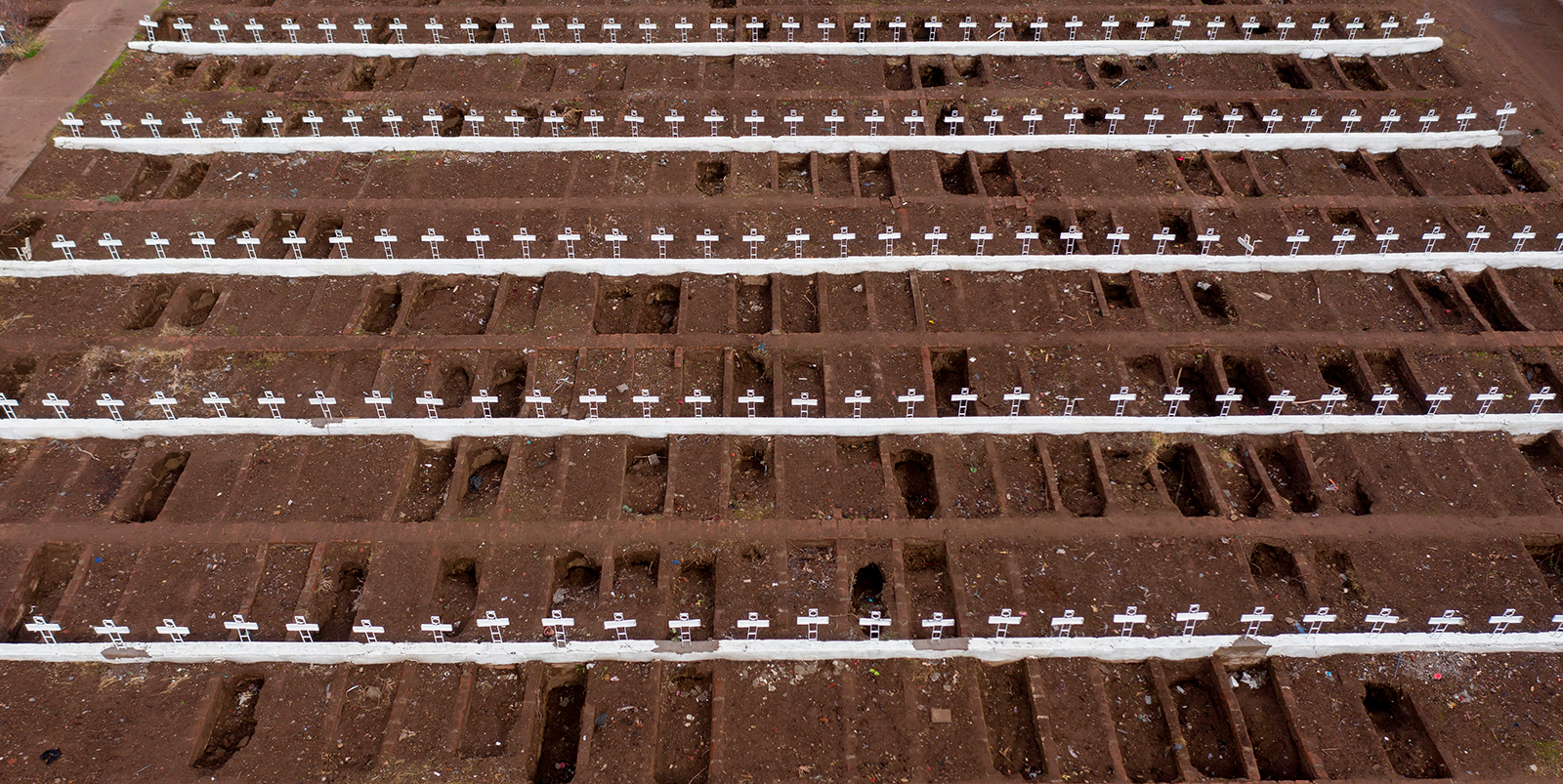Aerial view showing graves at the General Cemetery in Santiago, Chile amid the novel coronavirus pandemic on June 23.