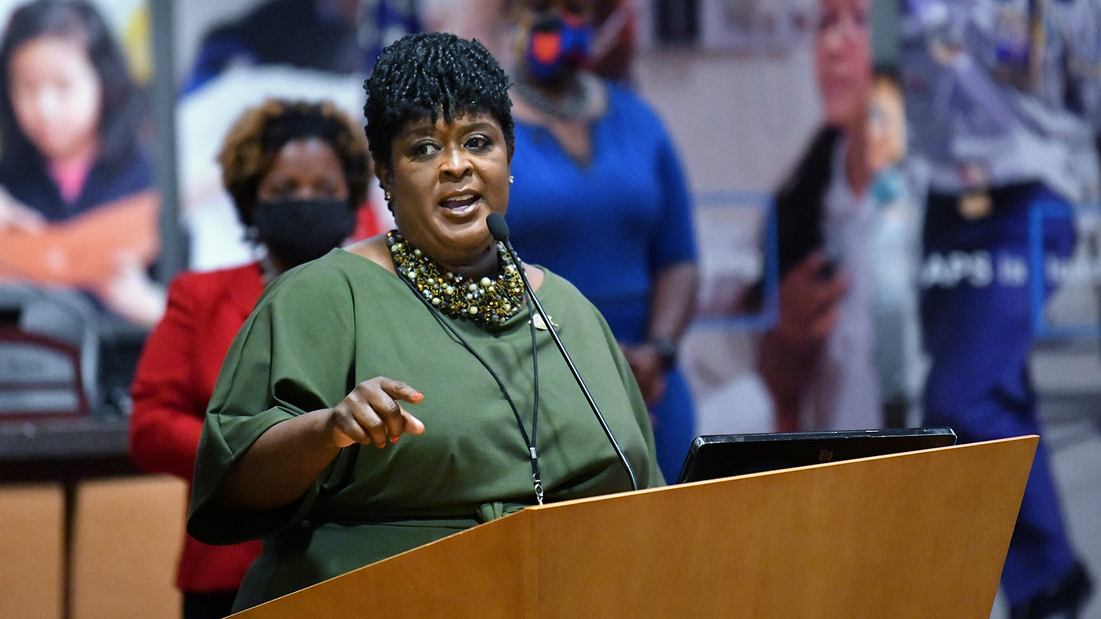New Atlanta Public Schools Superintendent Lisa Herring speaks after she was sworn in during a ceremony at Atlanta Public Schools Headquarters in Atlanta on Wednesday, July 1.