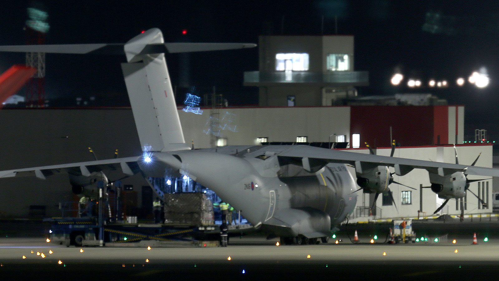A British Royal Air Force plane is seen at Istanbul Airport, Turkey, to transport personal protective equipment to the UK.