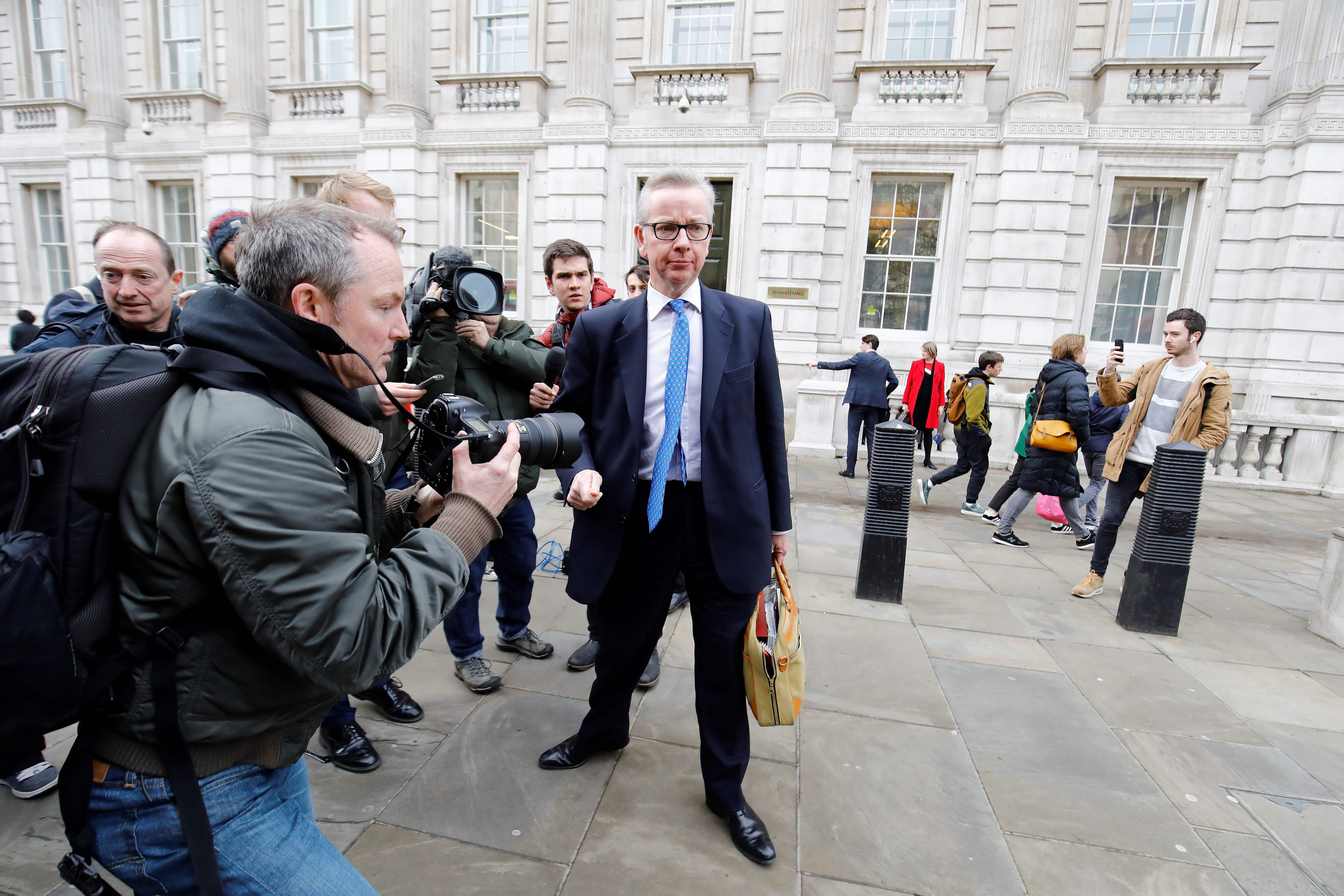Environment Secretary Michael Gove leaves the Cabinet Office after talks with Labour.