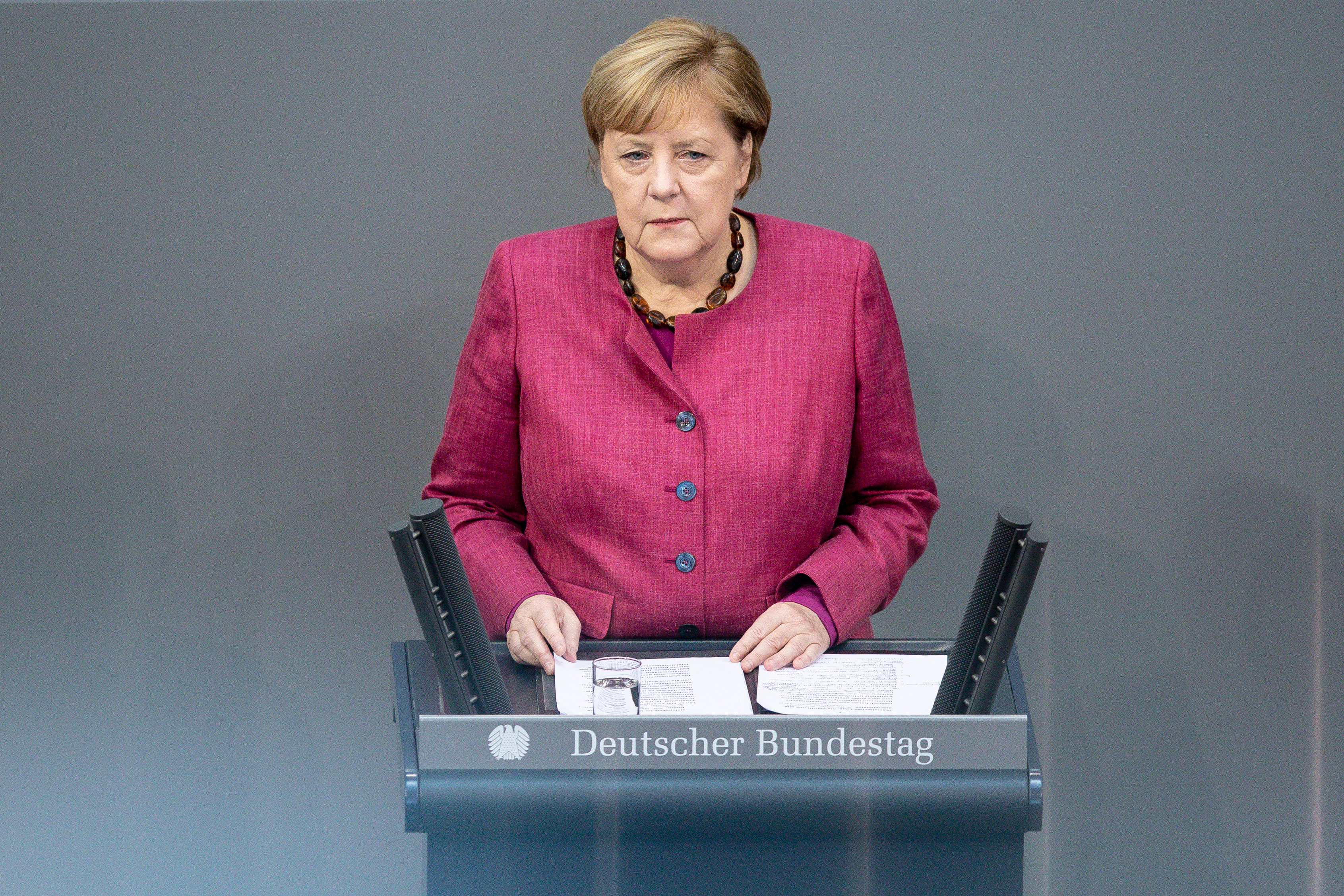 German Chancellor Angela Merkel speaks on October 29 in Berlin.