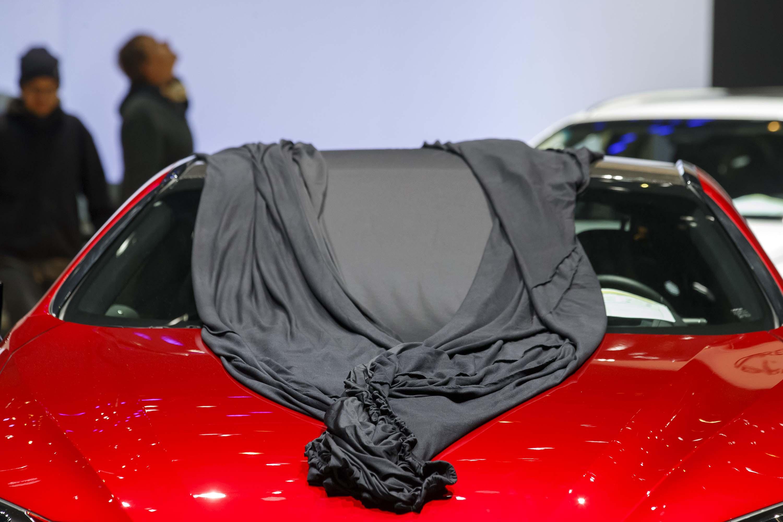 The Lexus booth during final preparations for the Geneva Motor Show. Photo: Salvatore Di Nolfi/EPA-EFE