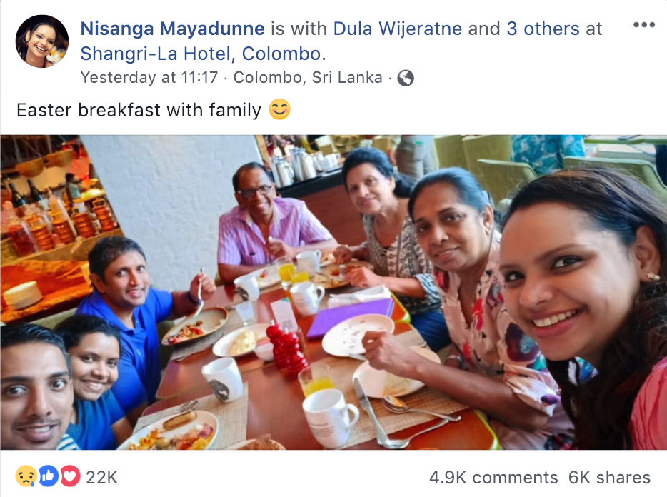 Screen-capture of Nisanga's Facebook page, showing a photo posted from the hotel shortly before the attack.