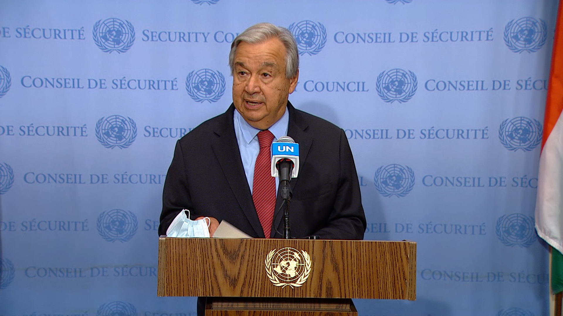 United Nations Secretary-General António Guterres speaks during a press conference on August 13.