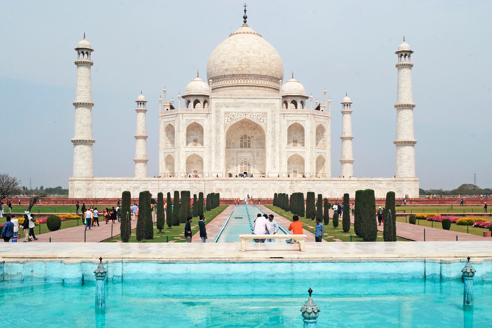 A low number of tourists are seen at Taj Mahal in Agra on March 16.