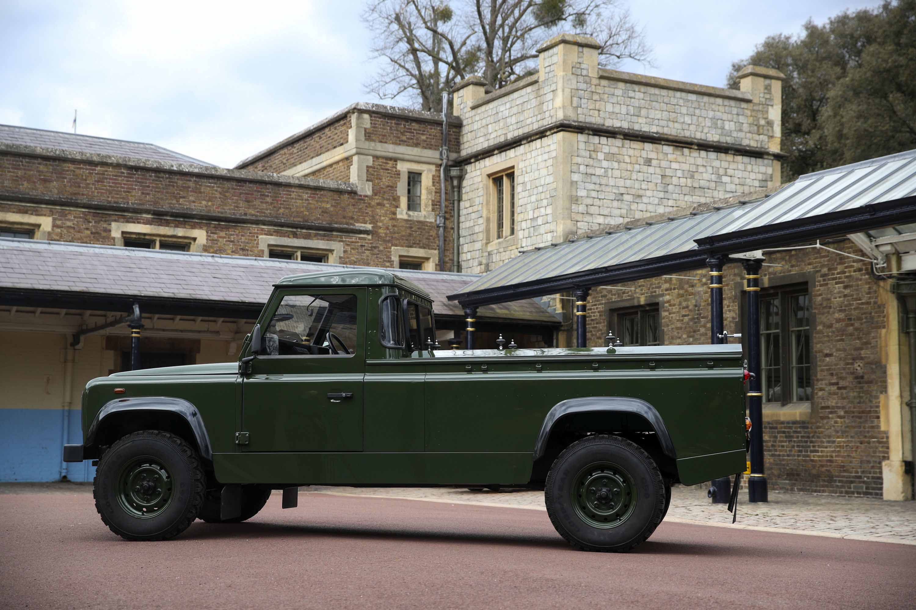 The Land Rover that will be used to transport the coffin of Prince Philip is displayed at Windsor Castle, on April 15.