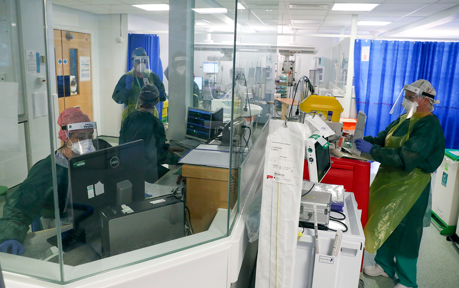 Medics at work in an Intensive Care ward treating coronavirus patients at Frimley Park Hospital, in Camberley, England, on May 22.