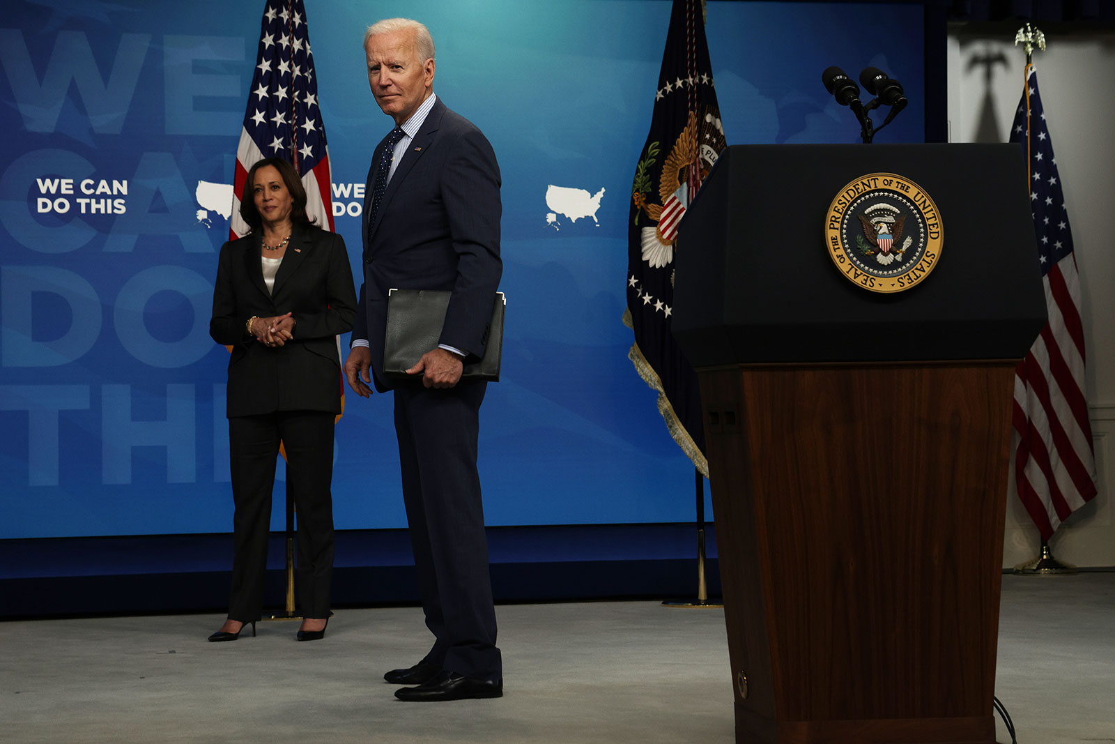 President Joe Biden, with Vice President Kamala Harris, listens to questions from members of the press after speaking at the South Court Auditorium in Washington on Wednesday, June 2.