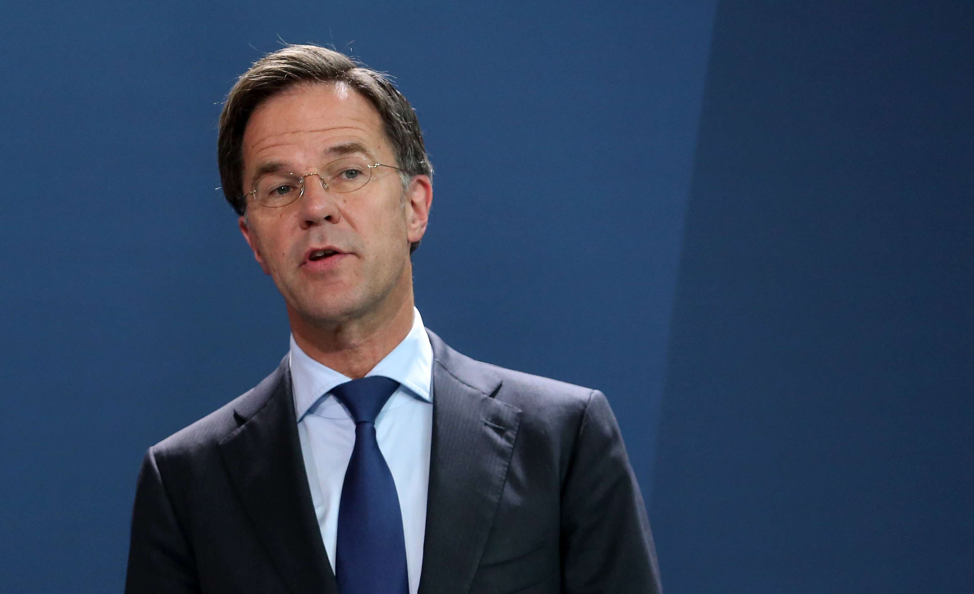 Dutch Prime Minister Mark Rutte attends a news conference in Berlin on July 9.