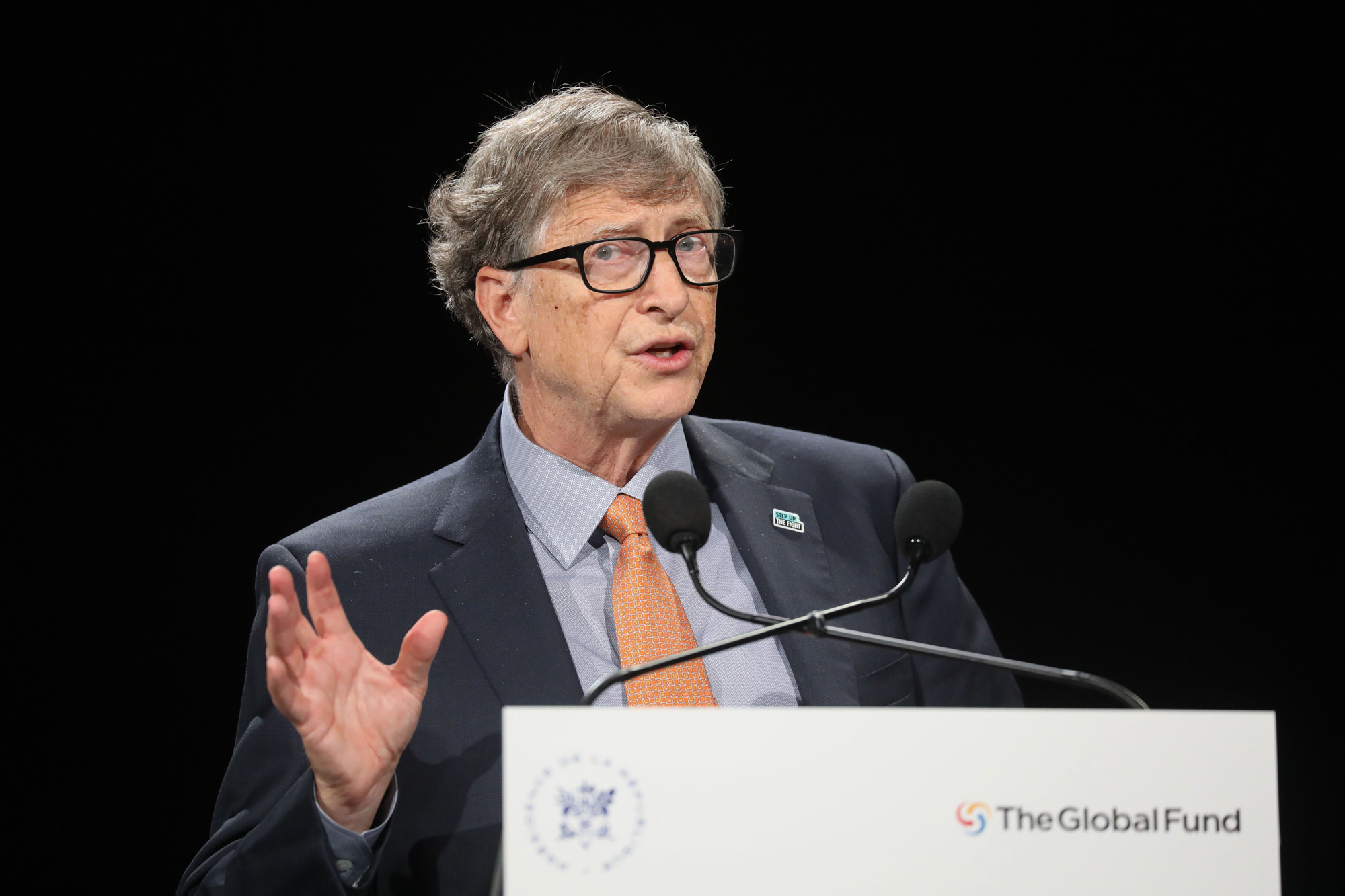 Bill Gates, founder of Microsoft and co-chair of the Bill and Melinda Gates Foundation, delivers a speech during the conference of Global Fund to Fight HIV, Tuberculosis and Malaria on October 10, 2019, in Lyon, France.