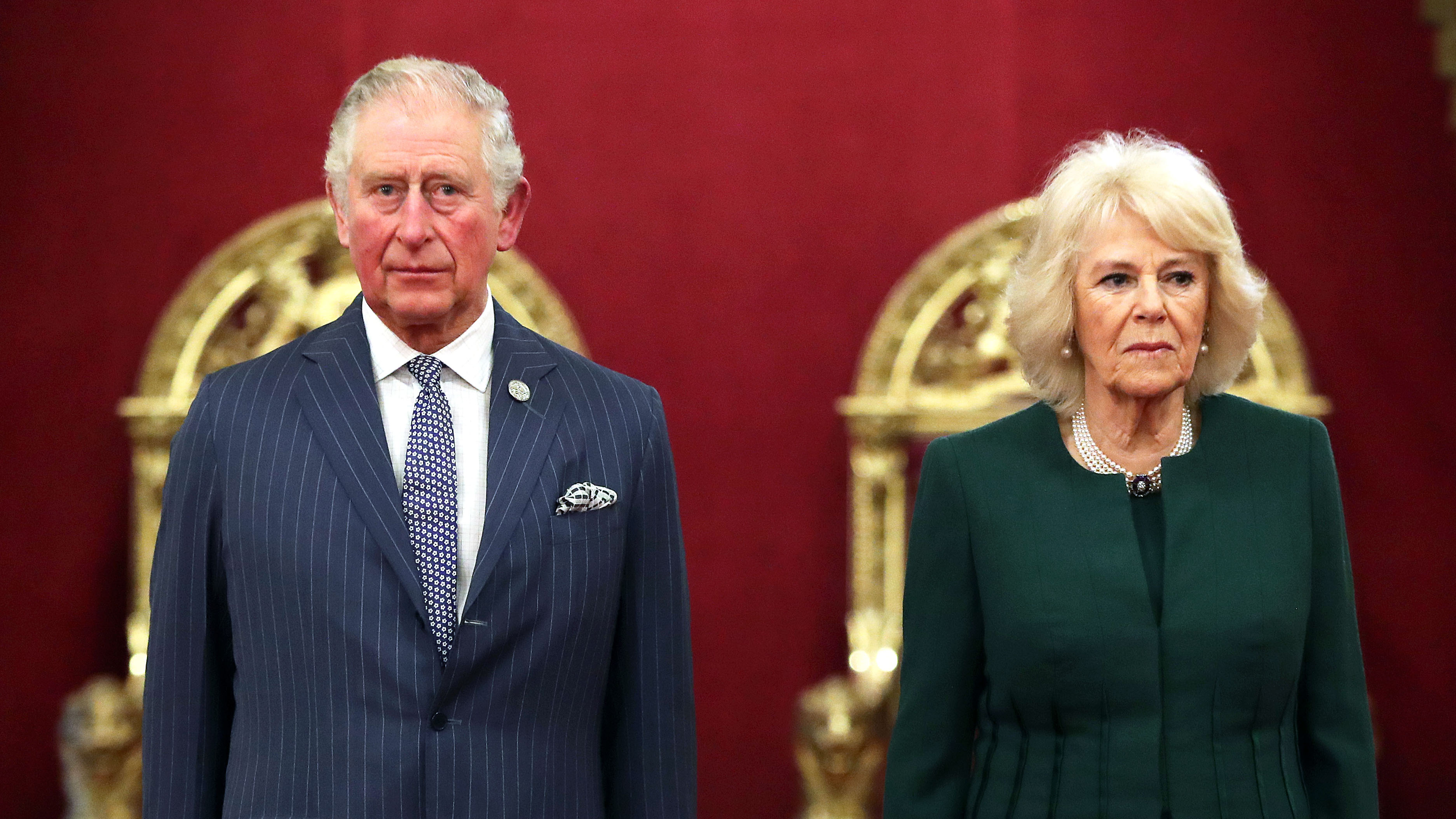 Prince Charles and Camilla, Duchess of Cornwall, attend an event on February 20 at Buckingham Palace in London.