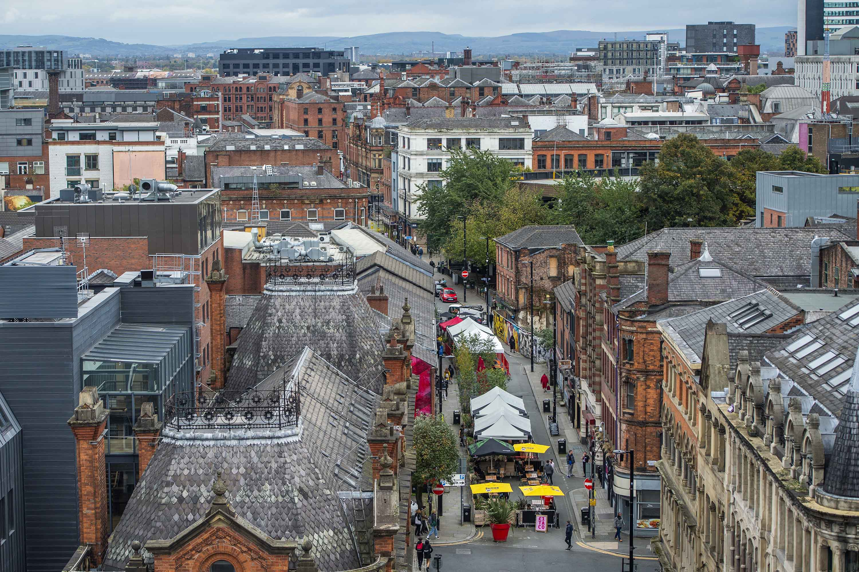 An overview show's outdoor seating areas for bars along Dale Street in Manchester, England, on Friday, October 16.