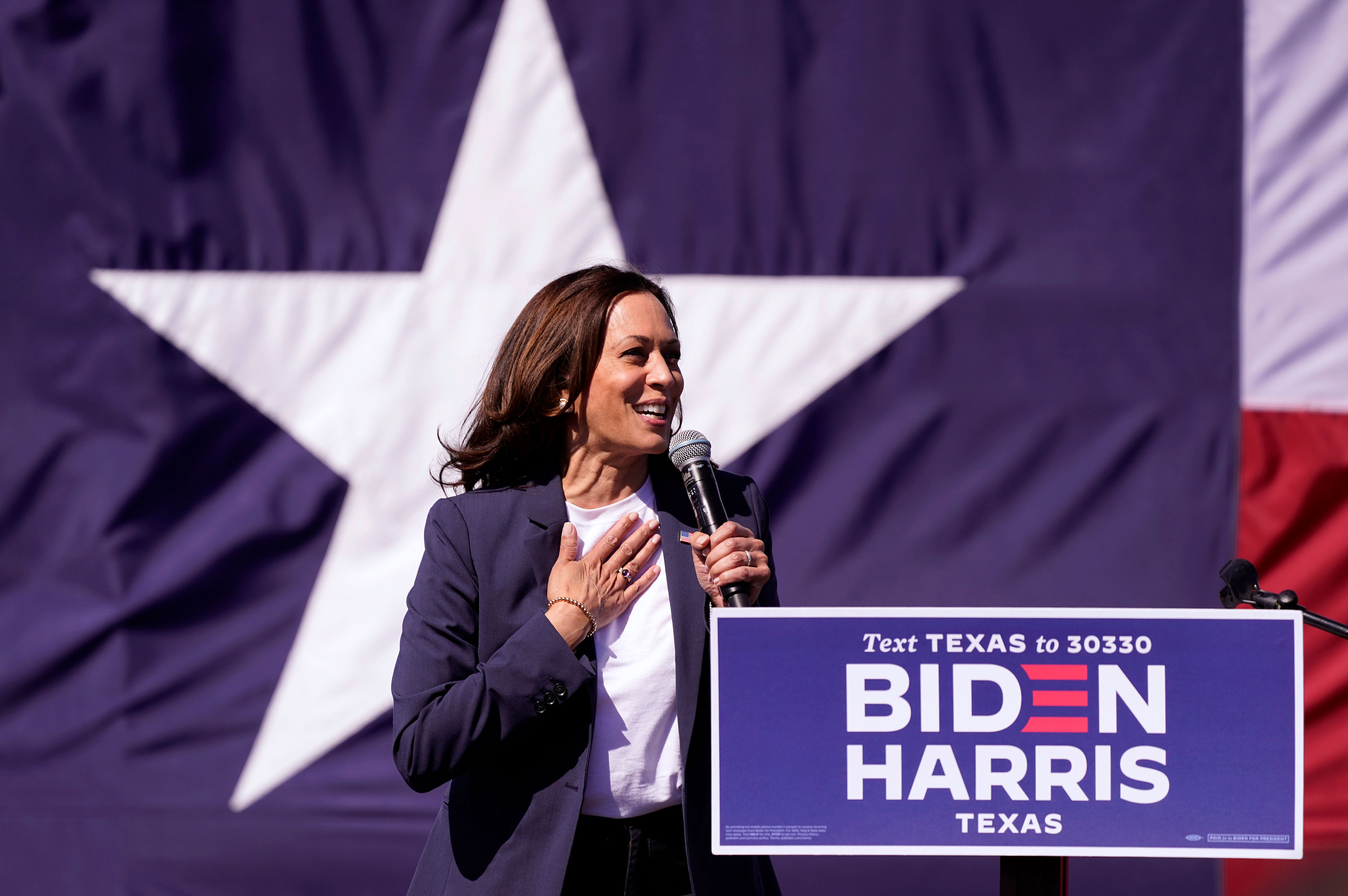 Kamala Harris speaks at a campaign event on Friday, October 30 in Fort Worth, Texas.