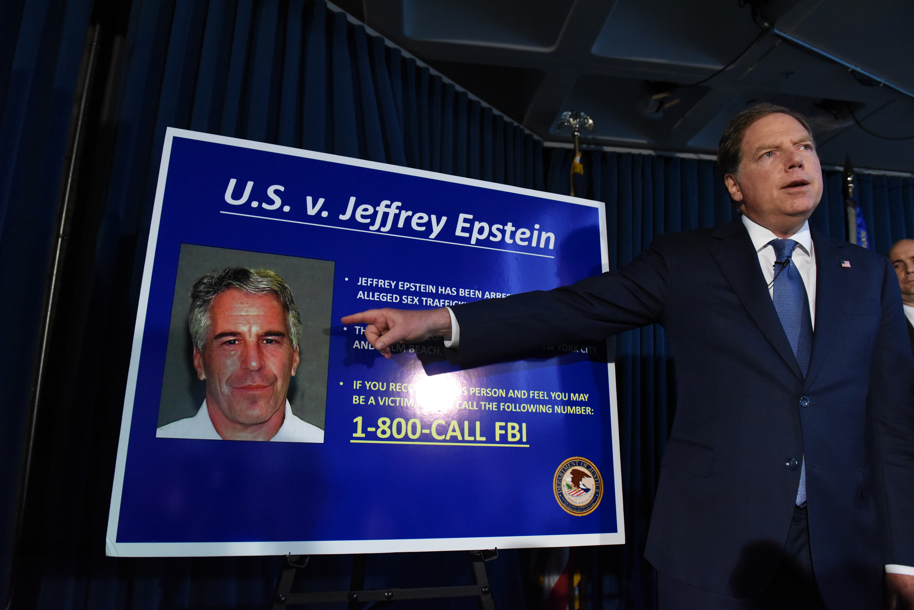 US Attorney Geoffrey Berman announces charges against Jeffery Epstein on July 8, 2019 in New York City.