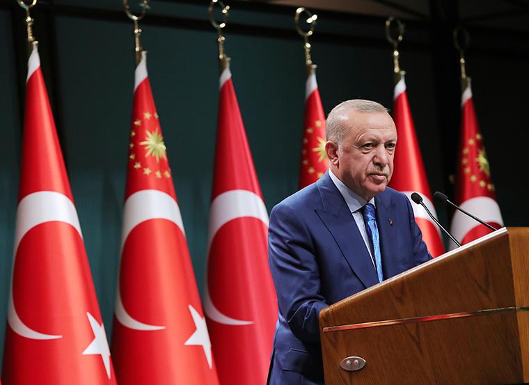 Erdogan speaks during a televised address following a cabinet meeting, in Ankara, Turkey, Thursday, August 19.