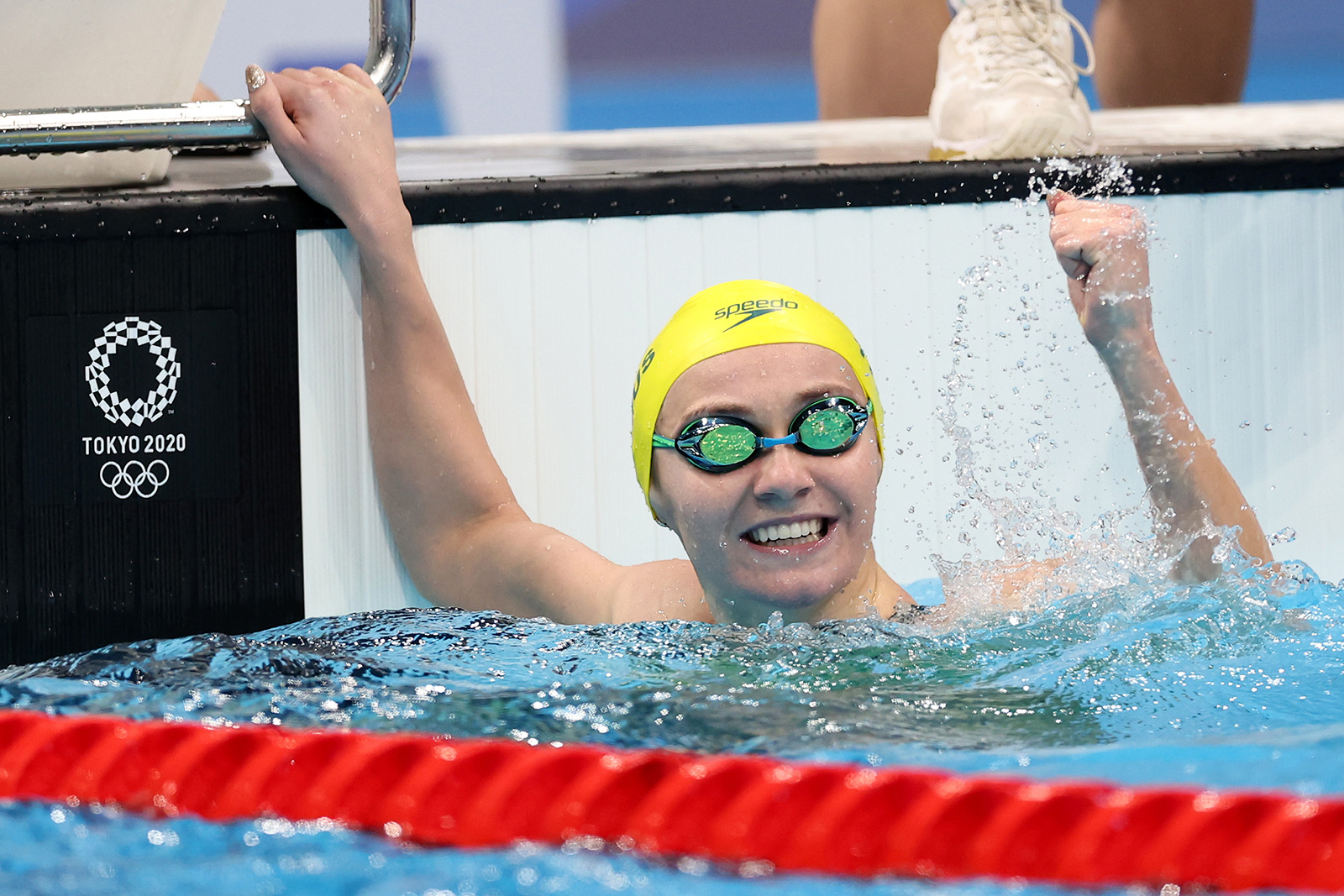 Ariarne Titmus of Team Australia celebrates after competing in the 200m Freestyle Final on July 28.