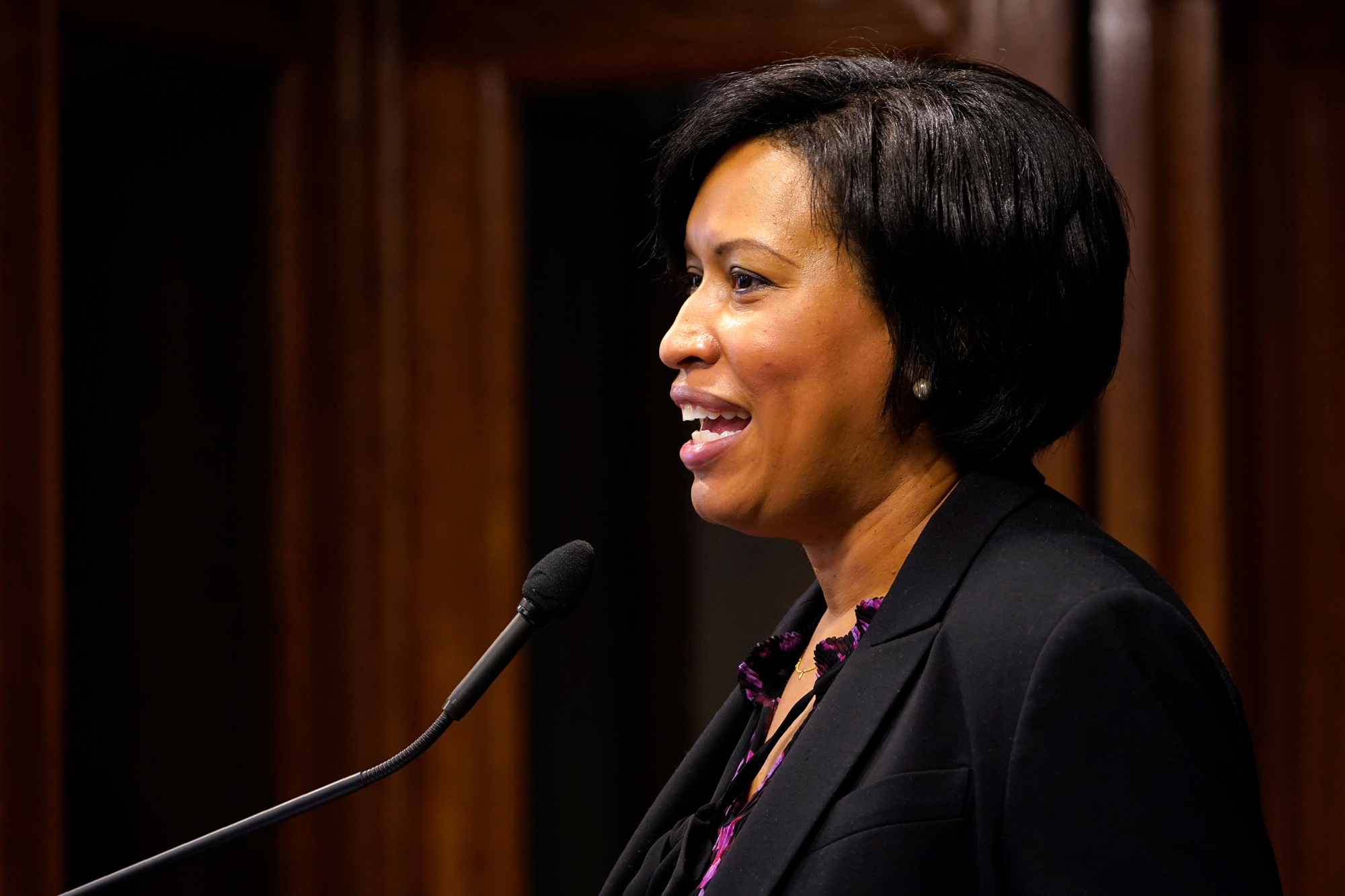District of Columbia Mayor Muriel Bowser speaks during a news conference in Washington, DC, on November 4.