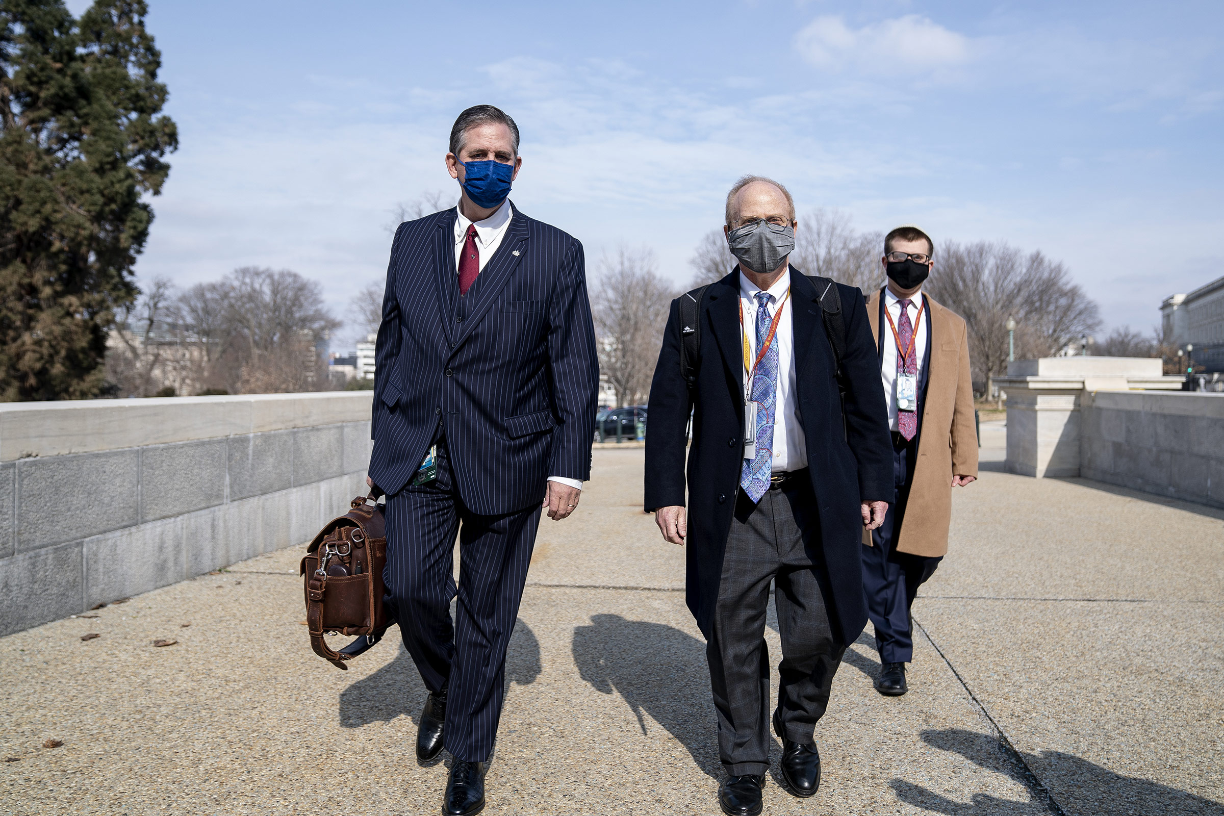 Defense attorneys for Donald Trump, Bruce Castor and David Schoen arrive at the Capitol in Washington, DC, on February 10.