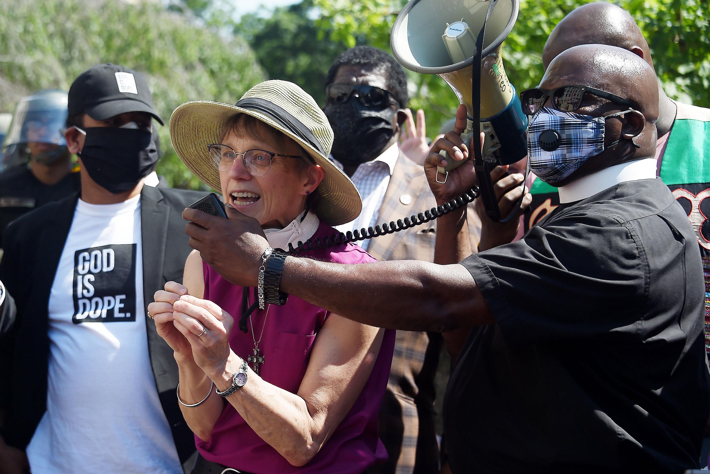 Bishop Mariann Edgar Budde speaks at a vigil near St. Johns Episcopal Church in Washington on June 3.