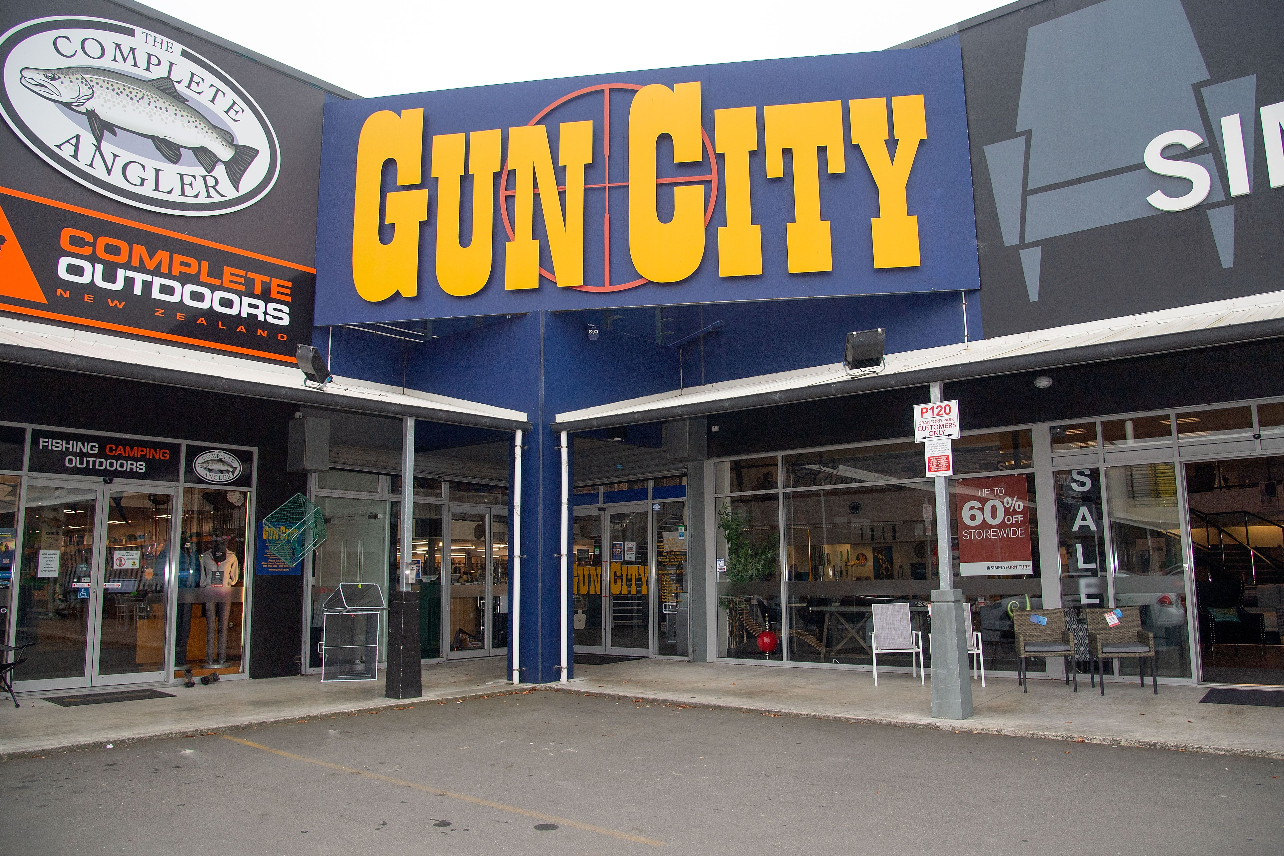 The Gun City store is seen on the outskirts of Christchurch on March 18.