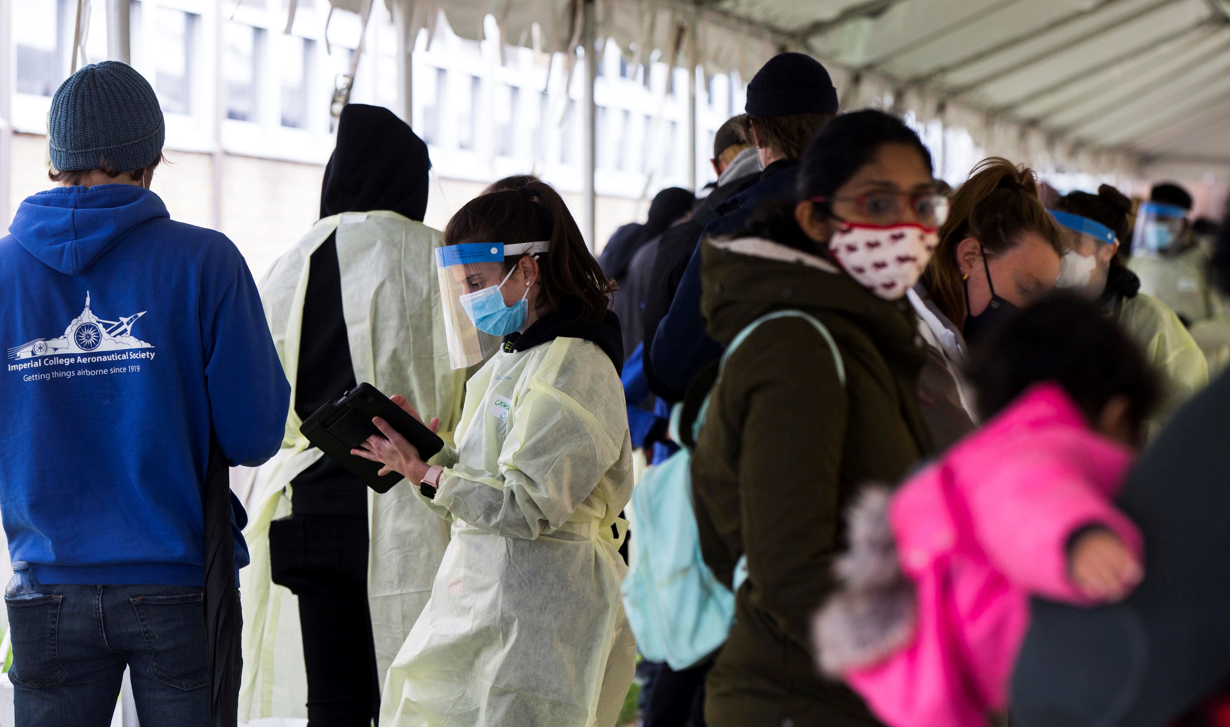 A medical staff member works at a COVID-19 vaccination clinic in Toronto, Ontario, Canada, on May 5.