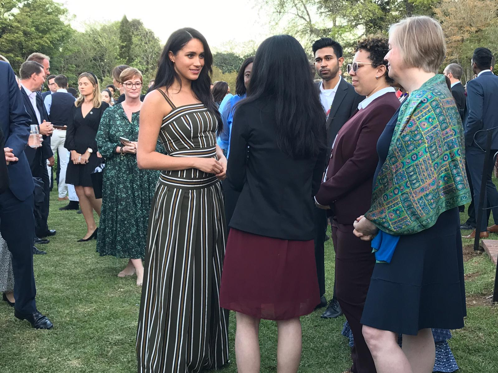 Meghan, Duchess of Sussex, chats with attendees during a reception celebrating young people in Cape Town, South Africa on Tuesday evening.