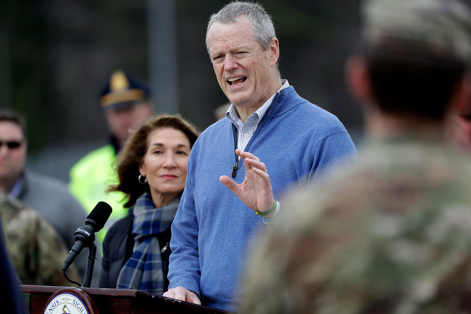 Massachusetts Gov. Charlie Baker speaks to reporters during a press conference last month.