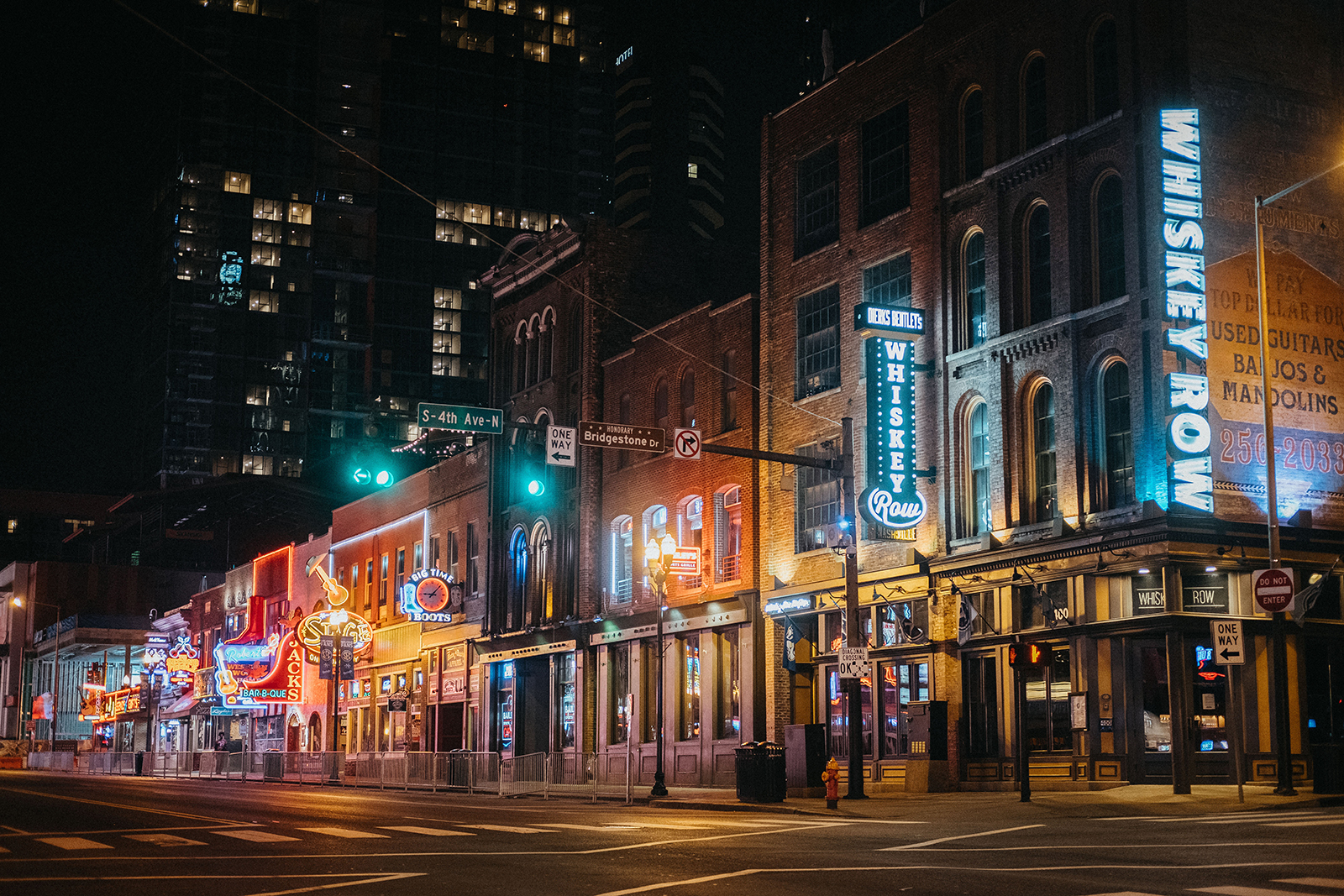 Downtown Broadway is seen at night in Nashville, on April 8.