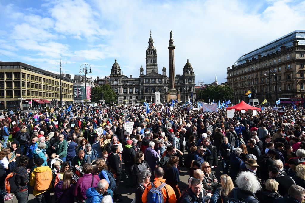 Crowds in Glasgow, where Jeremy Corbyn spoke.