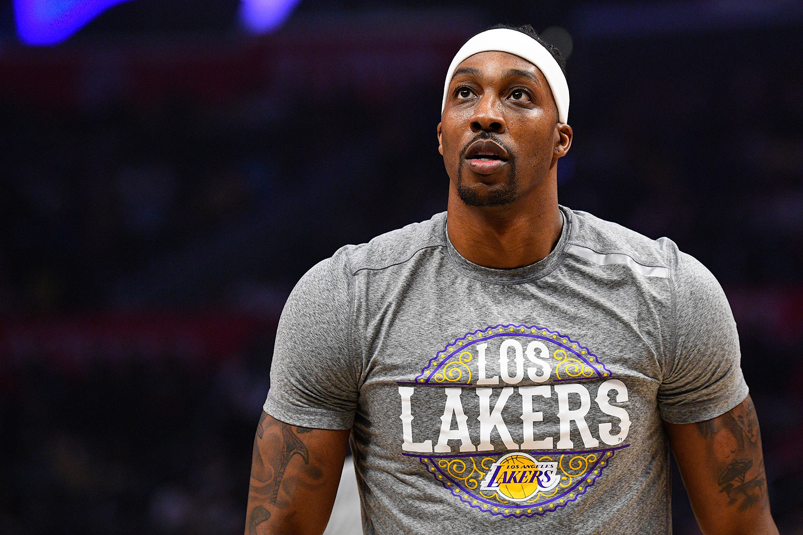 Los Angeles Lakers center Dwight Howard before a game between the Lakers and the Los Angeles Clippers on March 8.