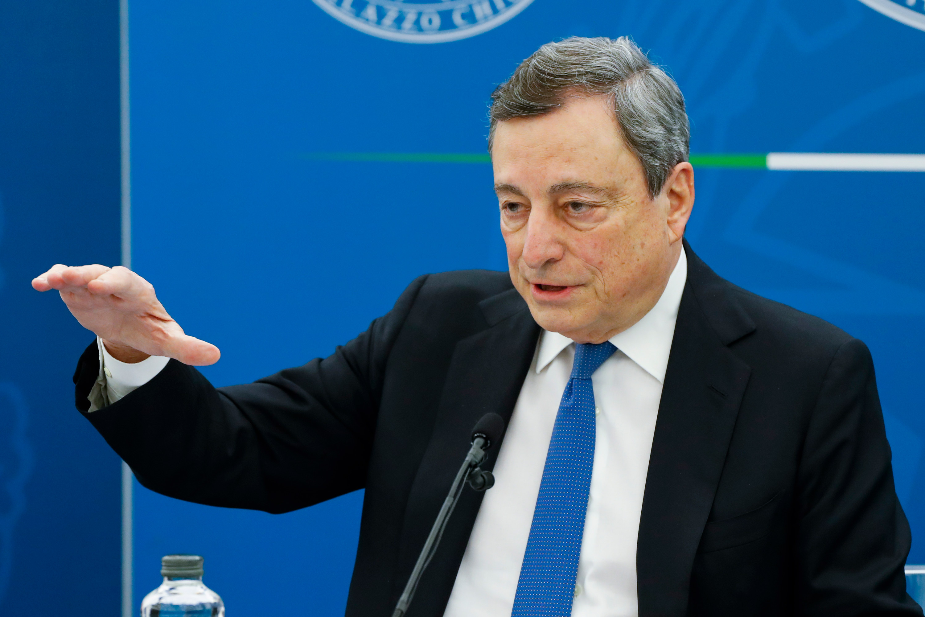 Italian Prime Minister Mario Draghi speaks during a news conference in Rome on April 16.