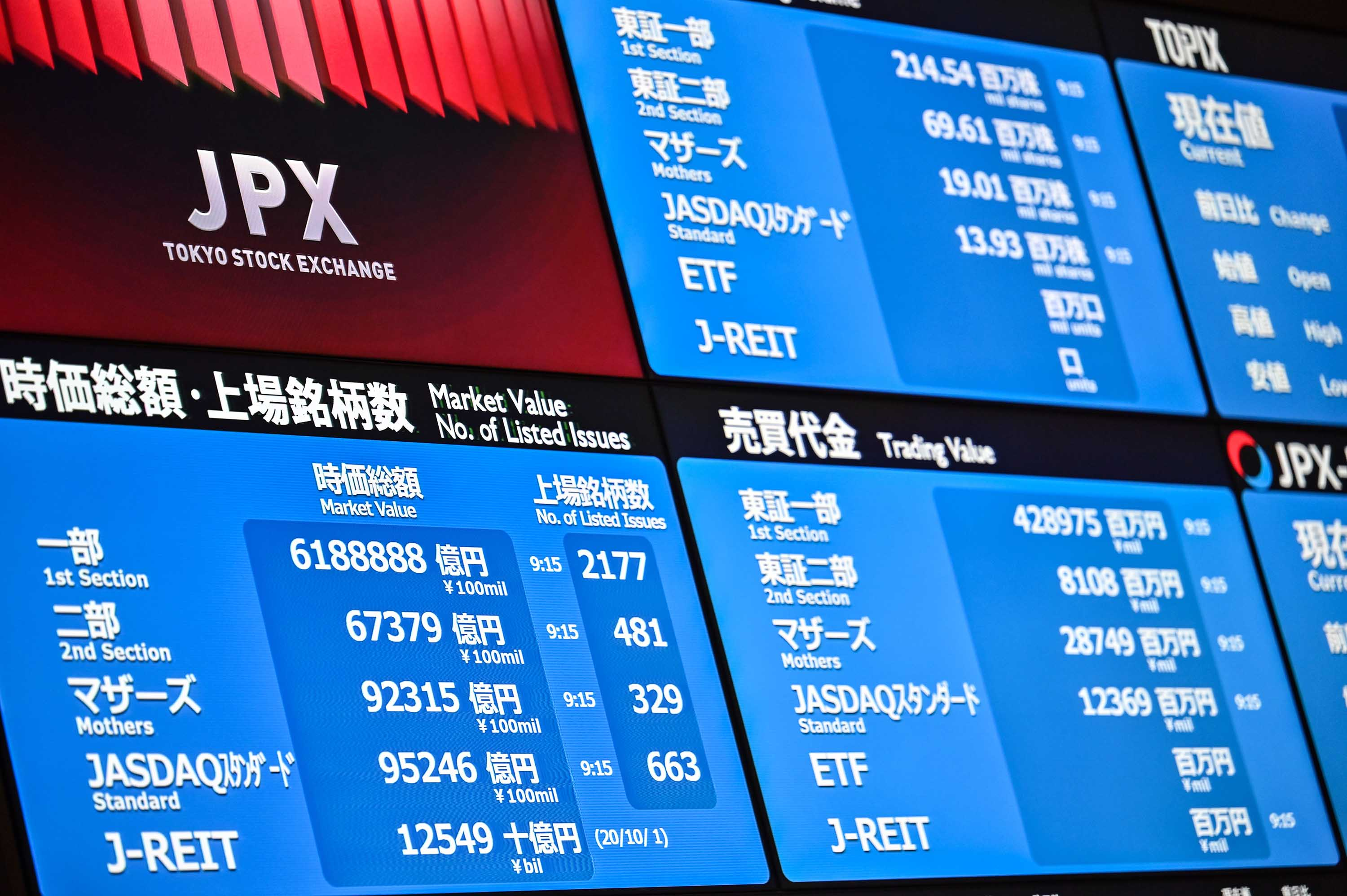 A general view shows stocks during the opening of the Japan Stock Exchange in Tokyo, on October 2.