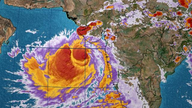 Satellite view of Tropical Cyclone Vayu on Wednesday