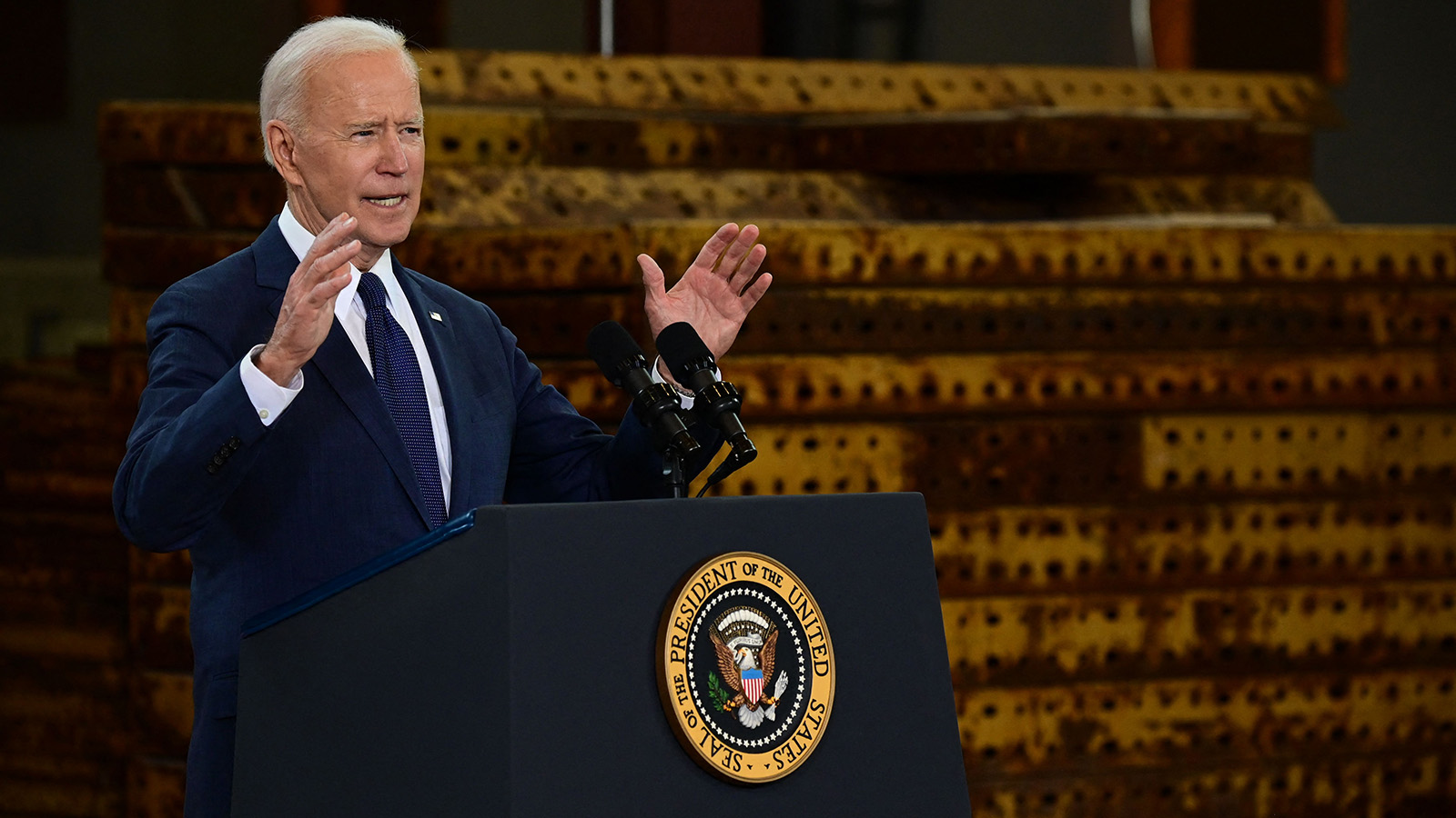 President Joe Biden delivers a speech on infrastructure spending at Carpenters Pittsburgh Training Center on Wednesday, March 31, in Pittsburgh.