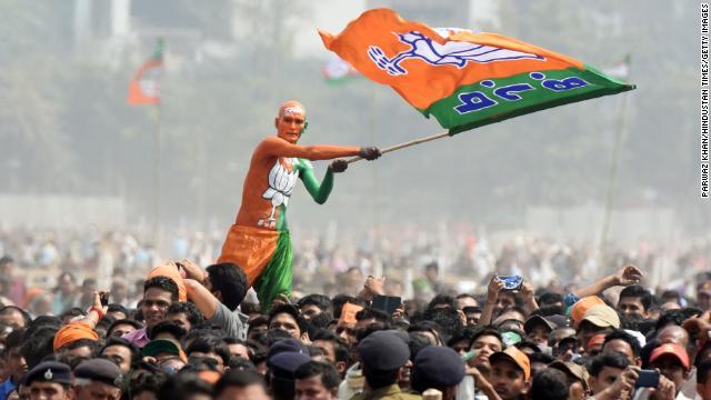 Bharatiya Janata Party supporters seen during Sankalp Rally at Gandhi Maidan on March 3, 2019 in Patna, India.