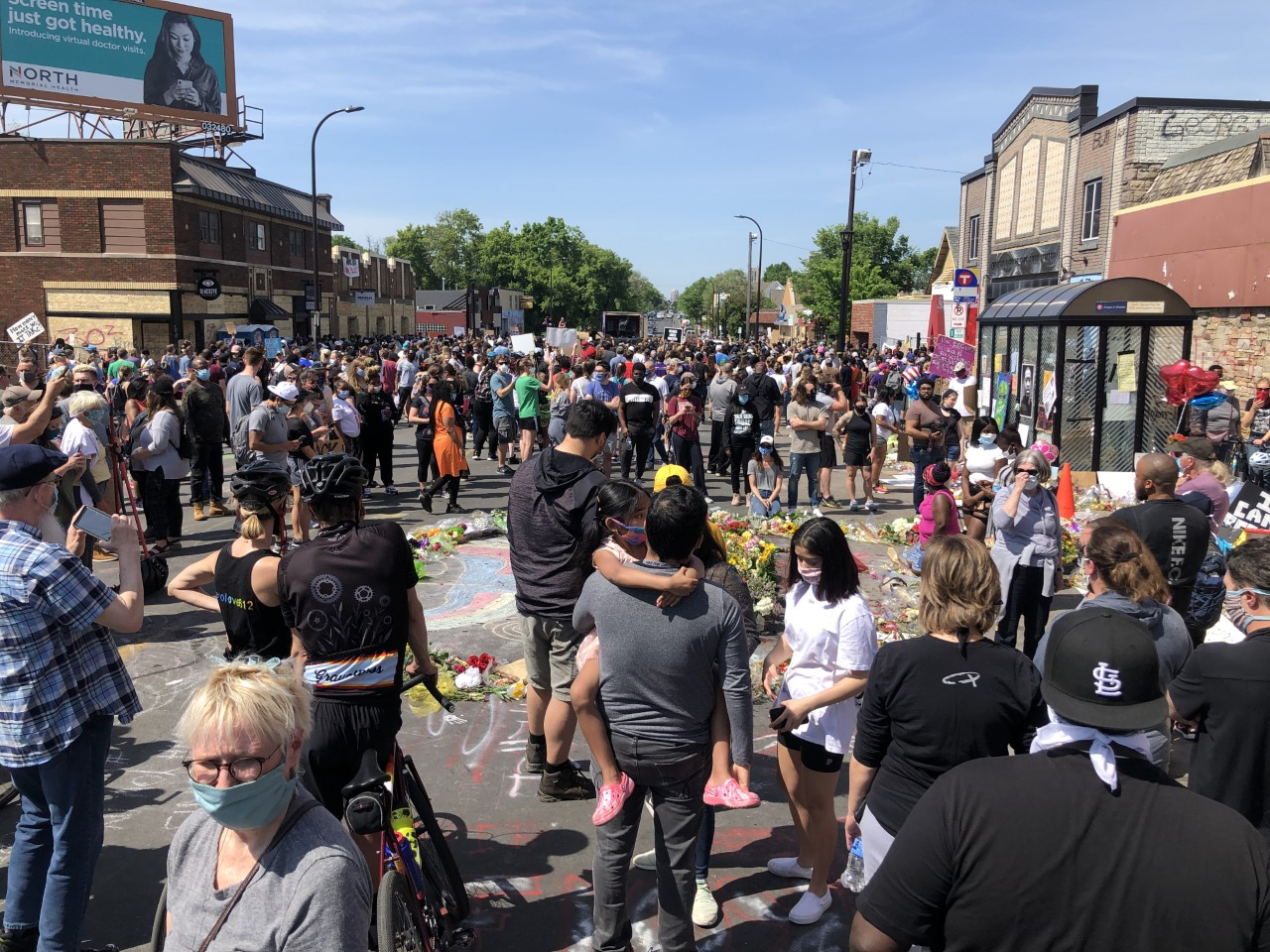 Protesters gather where George Floyd was arrested in Minneapolis on May 31, 2020.