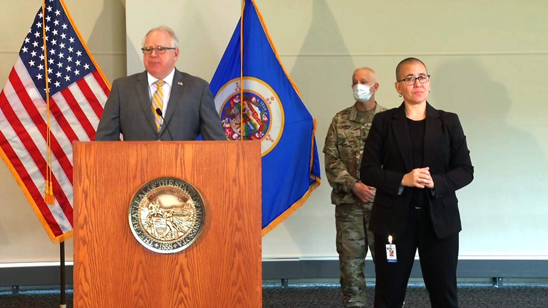 Minnesota Gov. Tim Walz speaking at a news conference in St. Paul, Minnesota, on May 29.