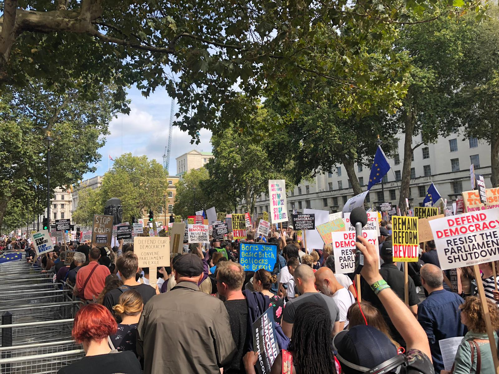 Protesters in Westminster on Saturday morning.